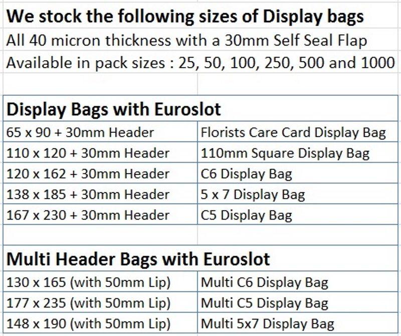 Florist Flush Cello Bag Cellophane Display Bag 65mm x 90mm