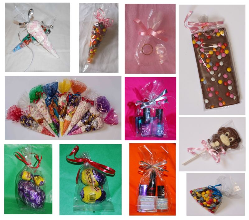 Clear Cello Party Cones, Gusset Gift Bags & Bags for Sweets & Lollipops FOOD SAFE All Party cones come with a FREE pack of TWIST TIES