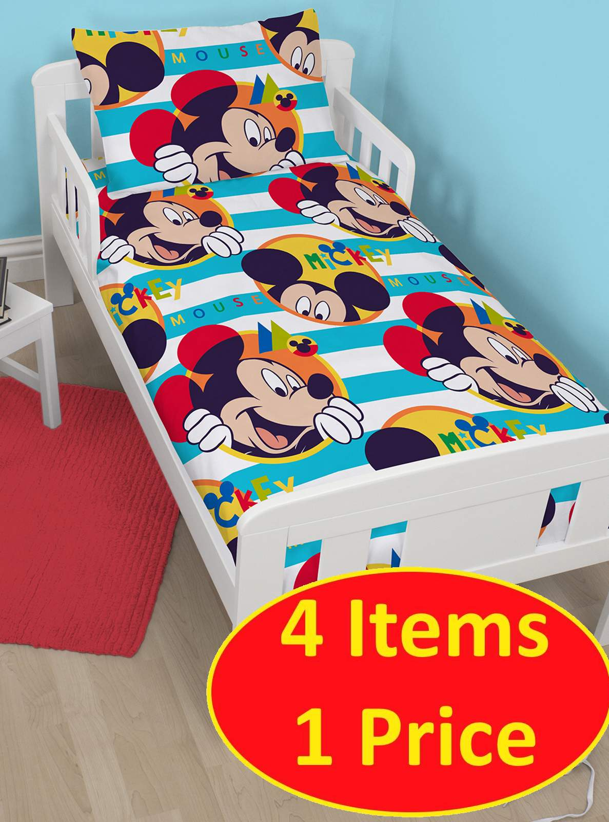 4 in 1 disney mickey mouse boo junior bettw sche b ndel. Black Bedroom Furniture Sets. Home Design Ideas