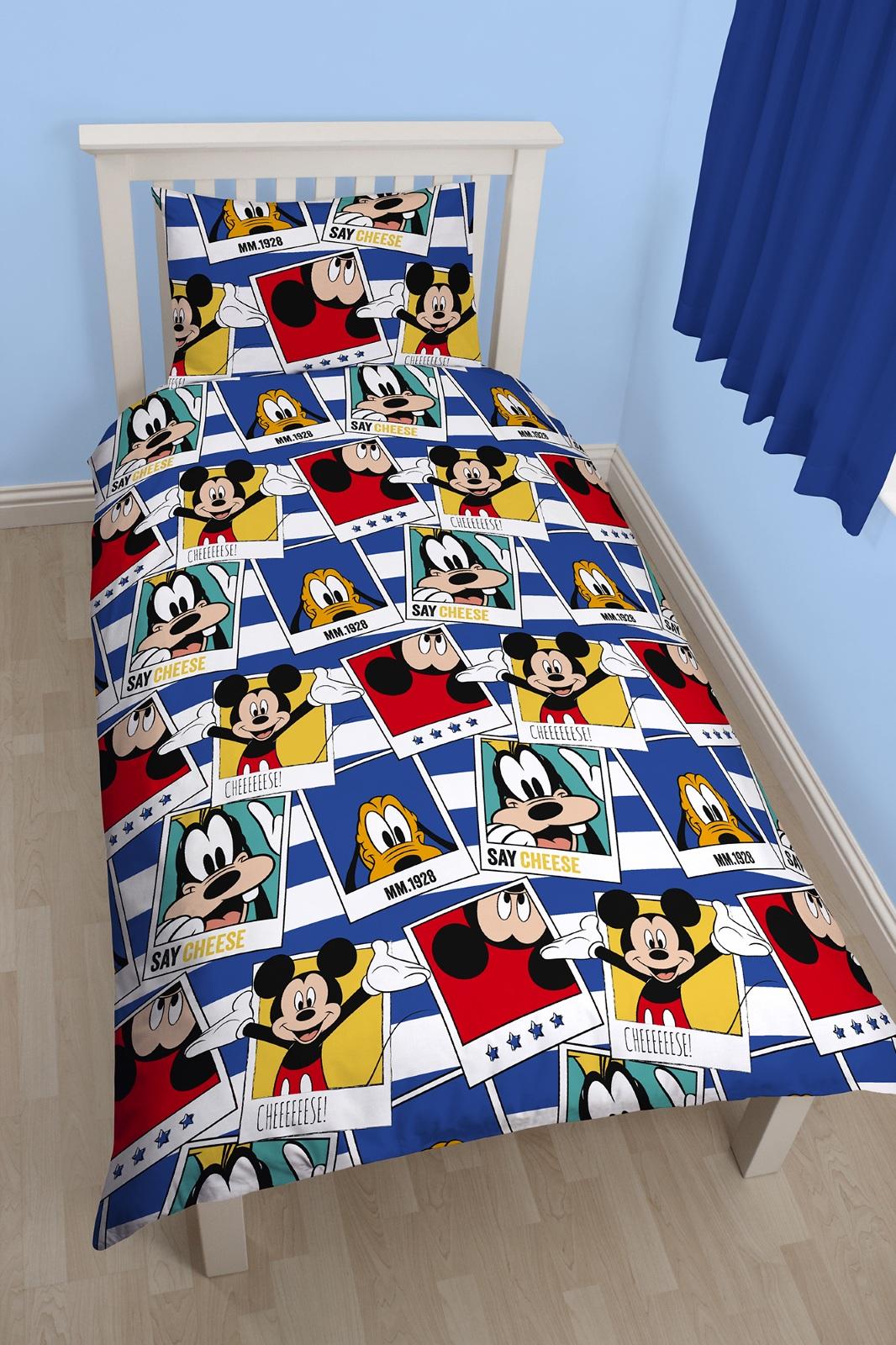 disney mickey mouse polaroid einzelbett bettw sche satz. Black Bedroom Furniture Sets. Home Design Ideas