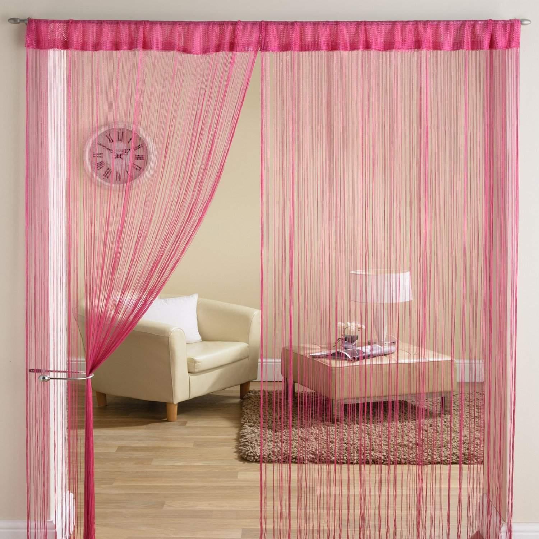 classique fil frange panneau diviseur fen tre rideau de porte 90x200cm fushia ebay. Black Bedroom Furniture Sets. Home Design Ideas