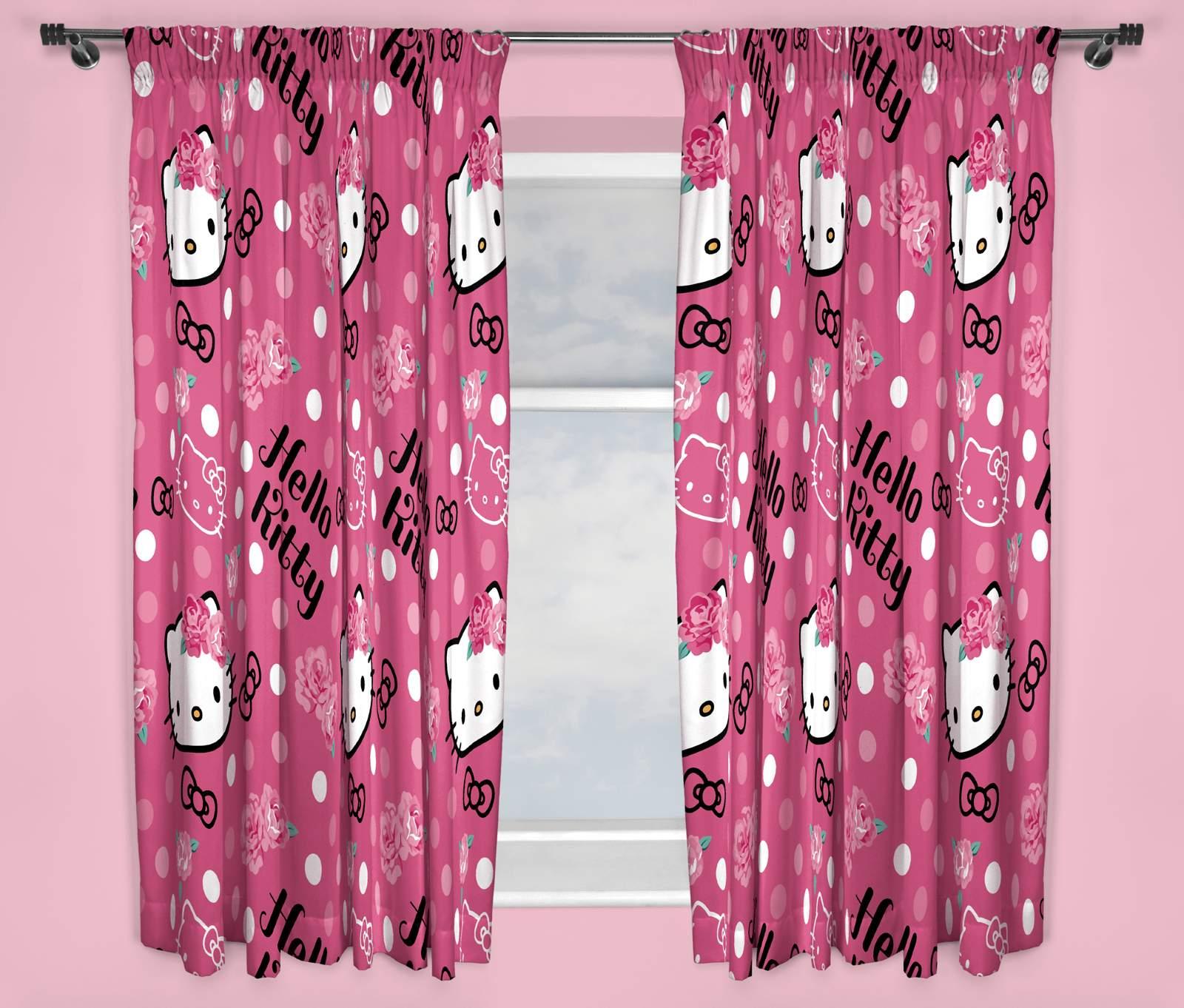 hello kitty sommerwind pink vorh nge 168cmx137cm. Black Bedroom Furniture Sets. Home Design Ideas