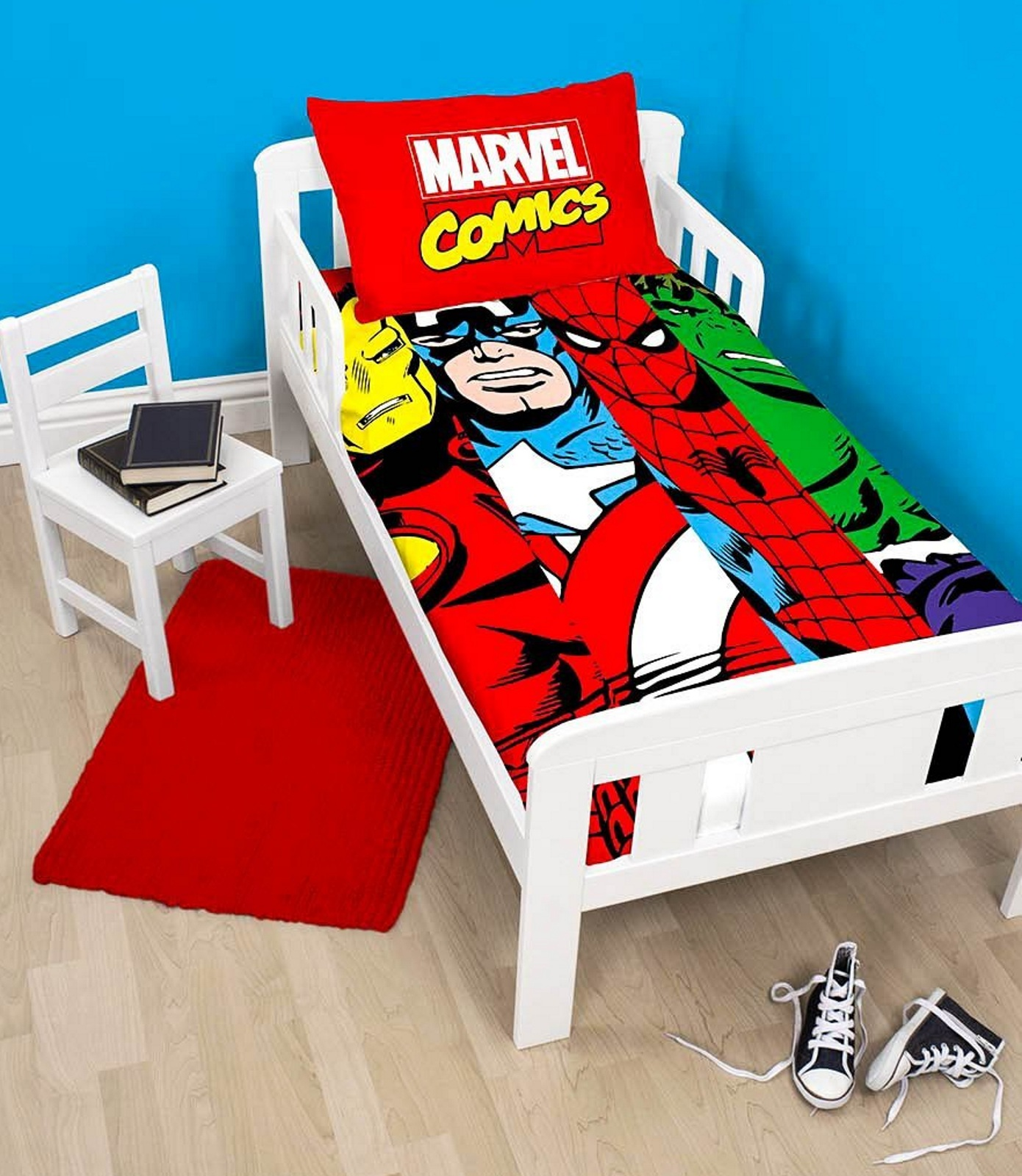 marvel avengers comics bettw scheset f r junior kleinkind kinderbett ebay. Black Bedroom Furniture Sets. Home Design Ideas