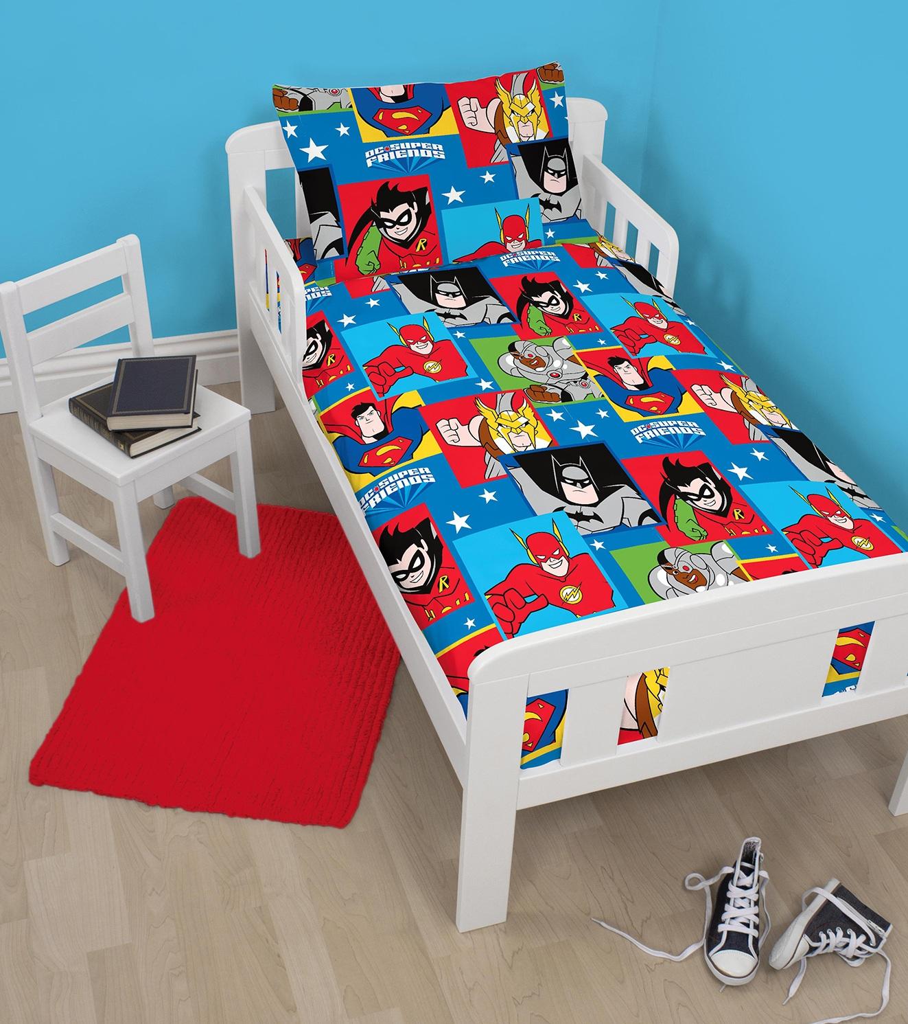 Dc Comics Super Friends Buds Design Junior Size Duvet Pillowcase Bedding Set Polycotton