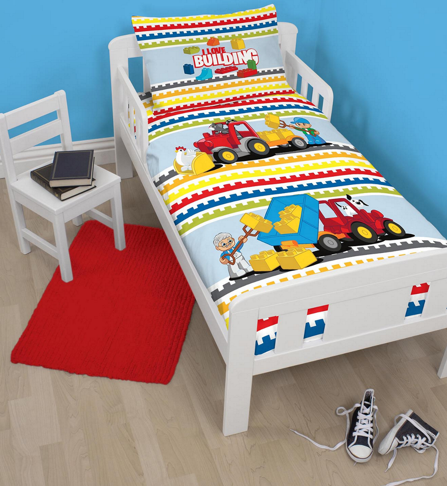 lego duplo blocs b b enfant junior lit b b taille ensemble housse de couette ebay. Black Bedroom Furniture Sets. Home Design Ideas