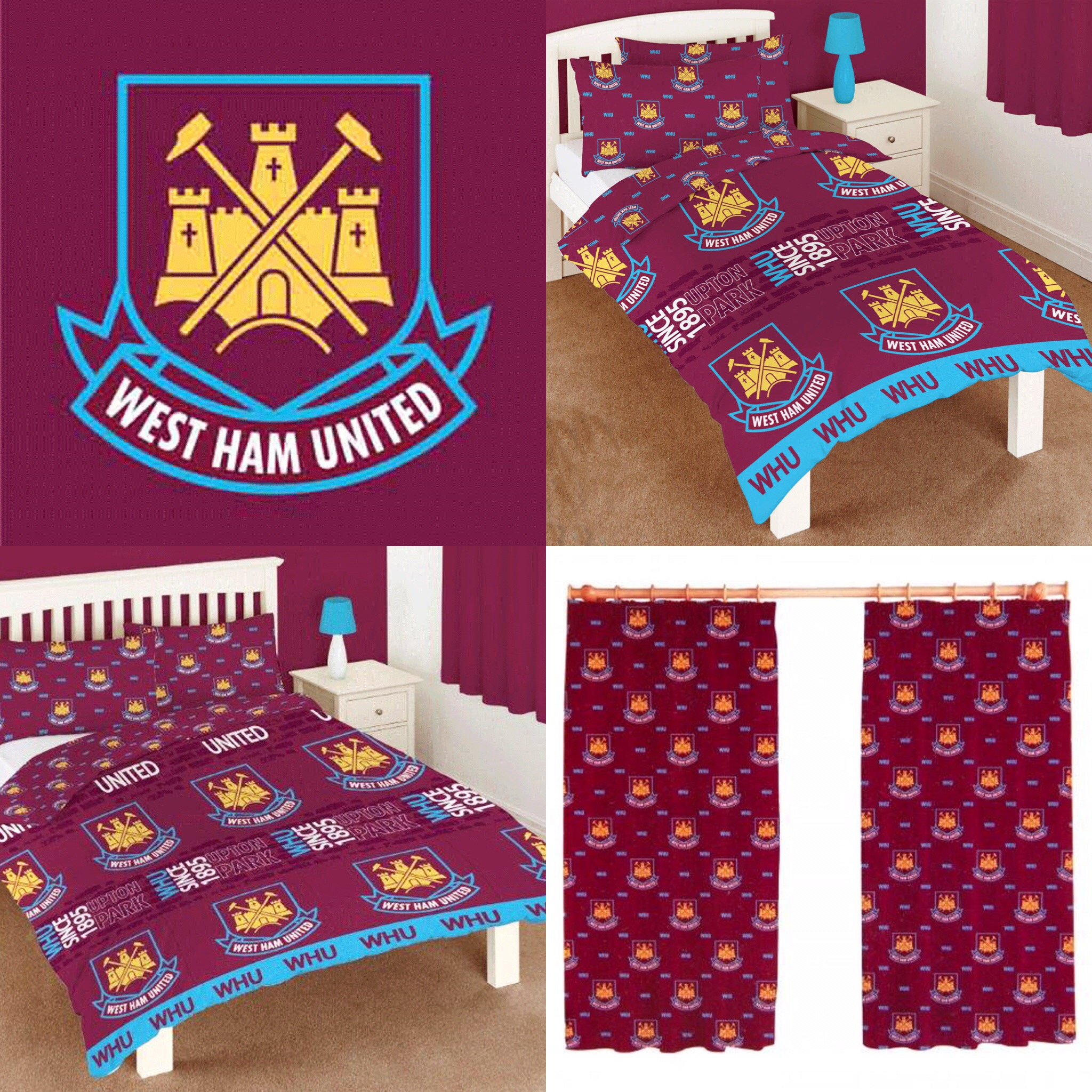 Details about WEST HAM UNITED F.C. FOOTBALL BEDROOM ACCESSORIES - Choose  One or More - BOYS