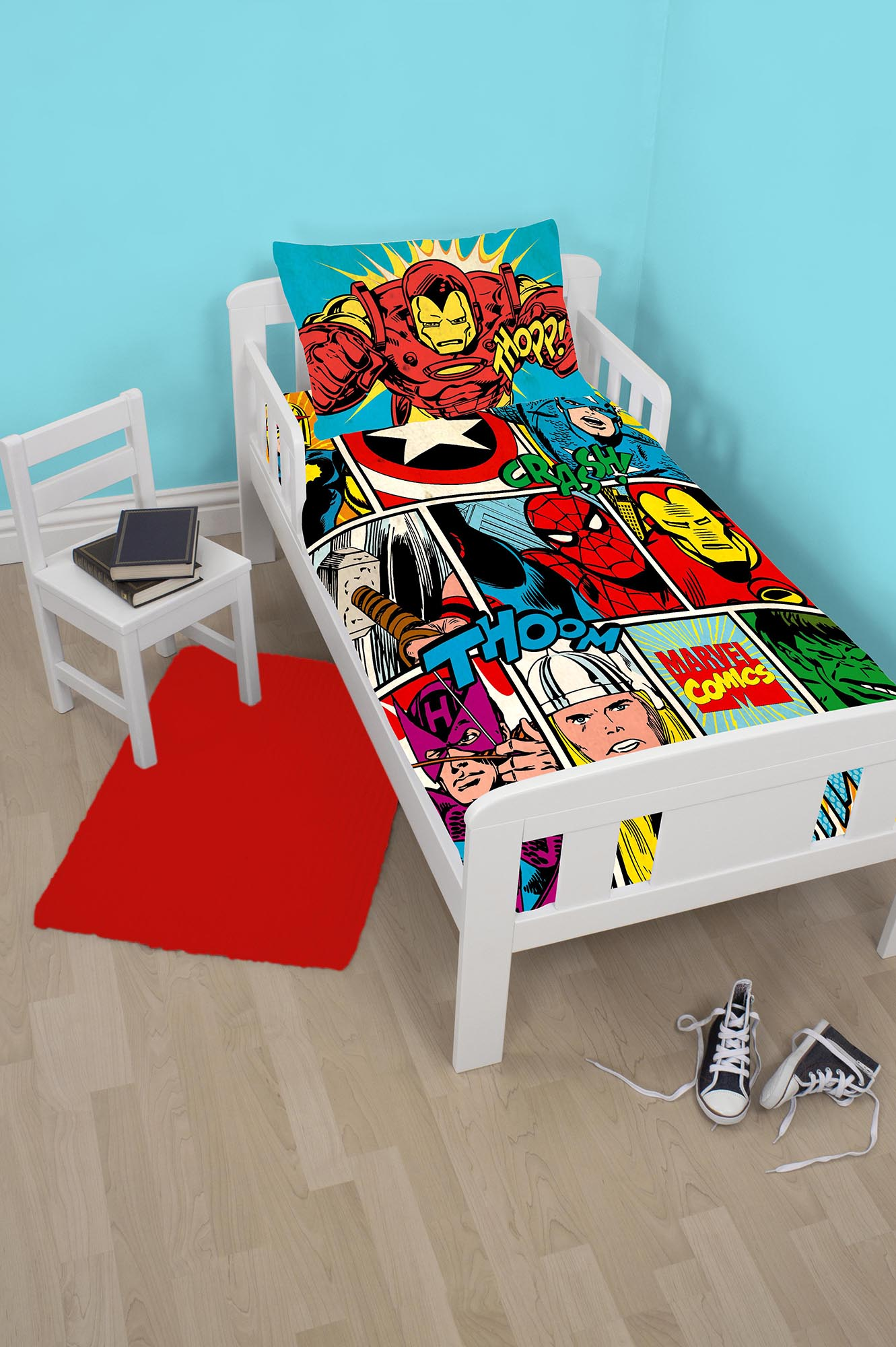 Marvel Avengers Comics Junior Toddler Size Cot Bed Duvet