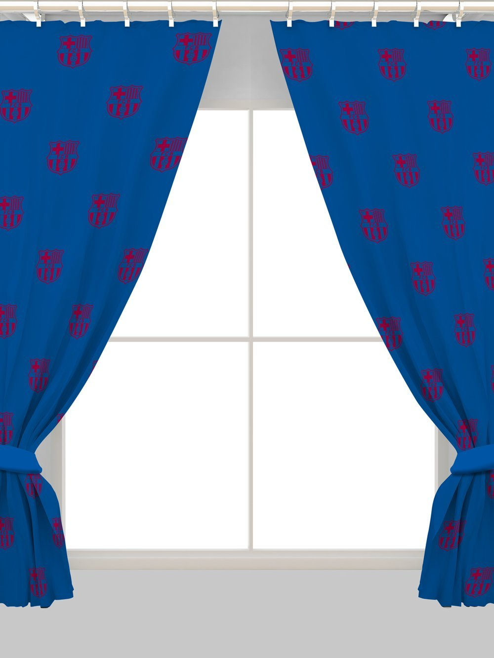 New barcelona fc ready made curtains pair set 66x54 inch for Crest home designs curtains