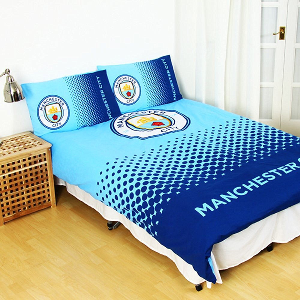 New Manchester City Fade Double Duvet Quilt Cover Set