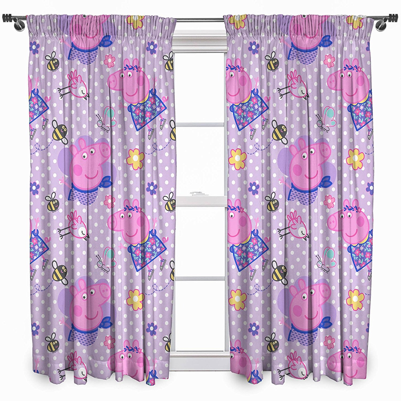 peppa pig 39 froh 39 paar von vorh nge 168x137cm m dchen rosa lila schlafzimmer ebay. Black Bedroom Furniture Sets. Home Design Ideas