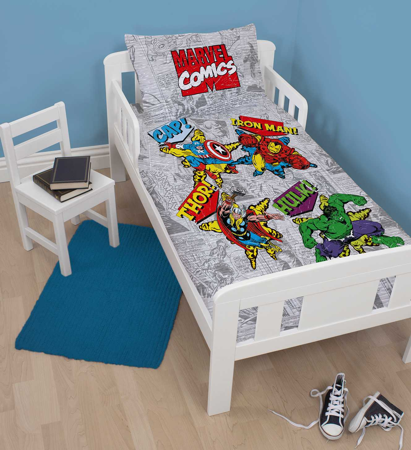 marvel avengers comics baby kleinkind kinderbett gr e. Black Bedroom Furniture Sets. Home Design Ideas
