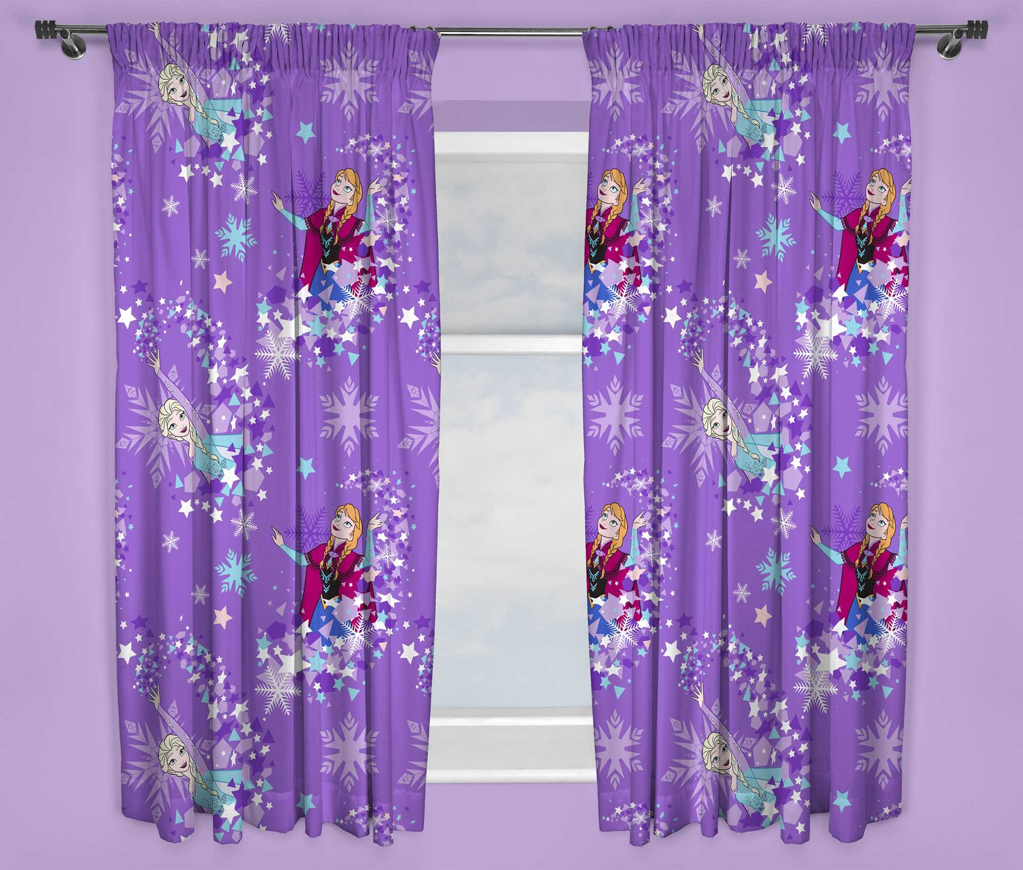 New Disney Frozen Anna Elsa Purple Curtains Girls Kids