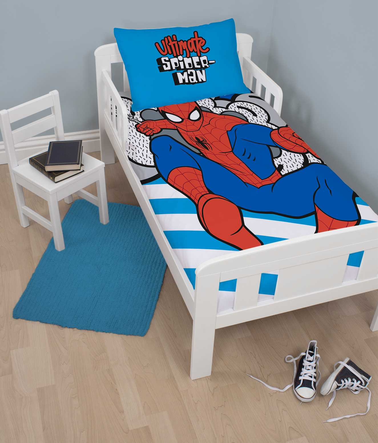 neu spiderman kinderbett gr e bettdecke bettbezug set jungen kinder blau zimmer ebay. Black Bedroom Furniture Sets. Home Design Ideas