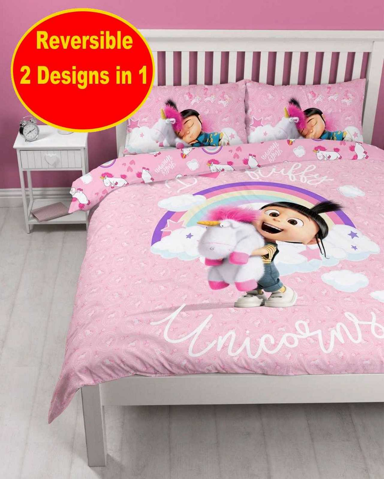 Despicable Me Minions Girls Double Duvet Quilt Cover Set Pink Unicorn Bedroom 5055285410858 Ebay