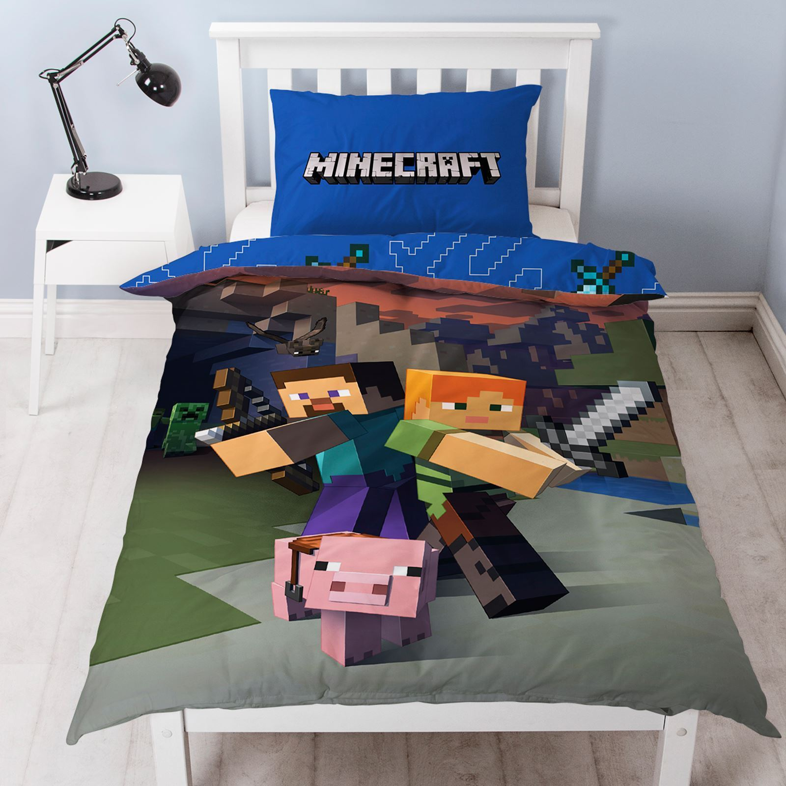 New MINECRAFT Single Duvet Quilt Cover Set Boys Kids