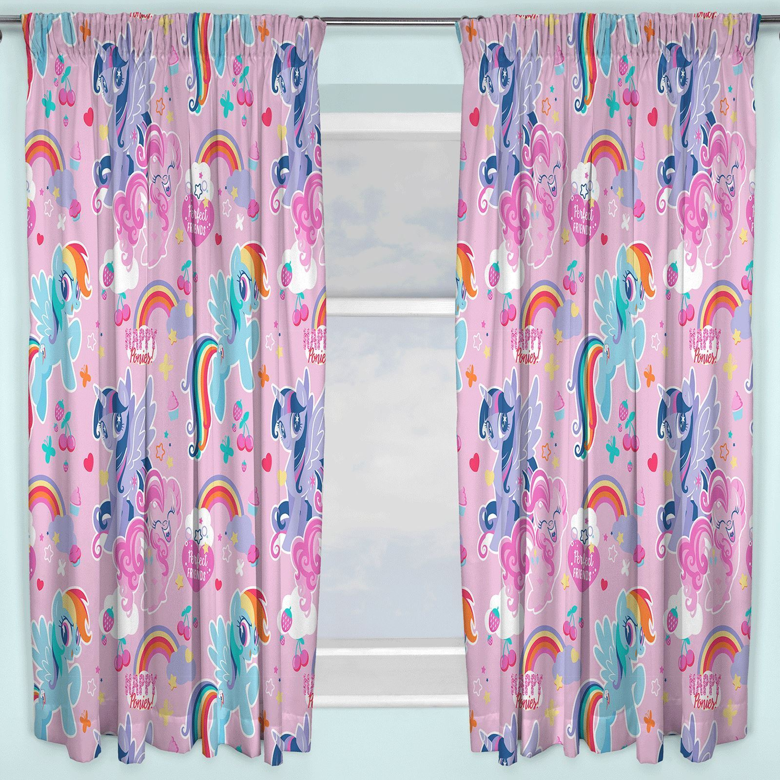 Details about NEW MY LITTLE PONY CRUSH DESIGN 54 INCH LENGTH CURTAINS GIRLS  PINK BEDROOM GIFT