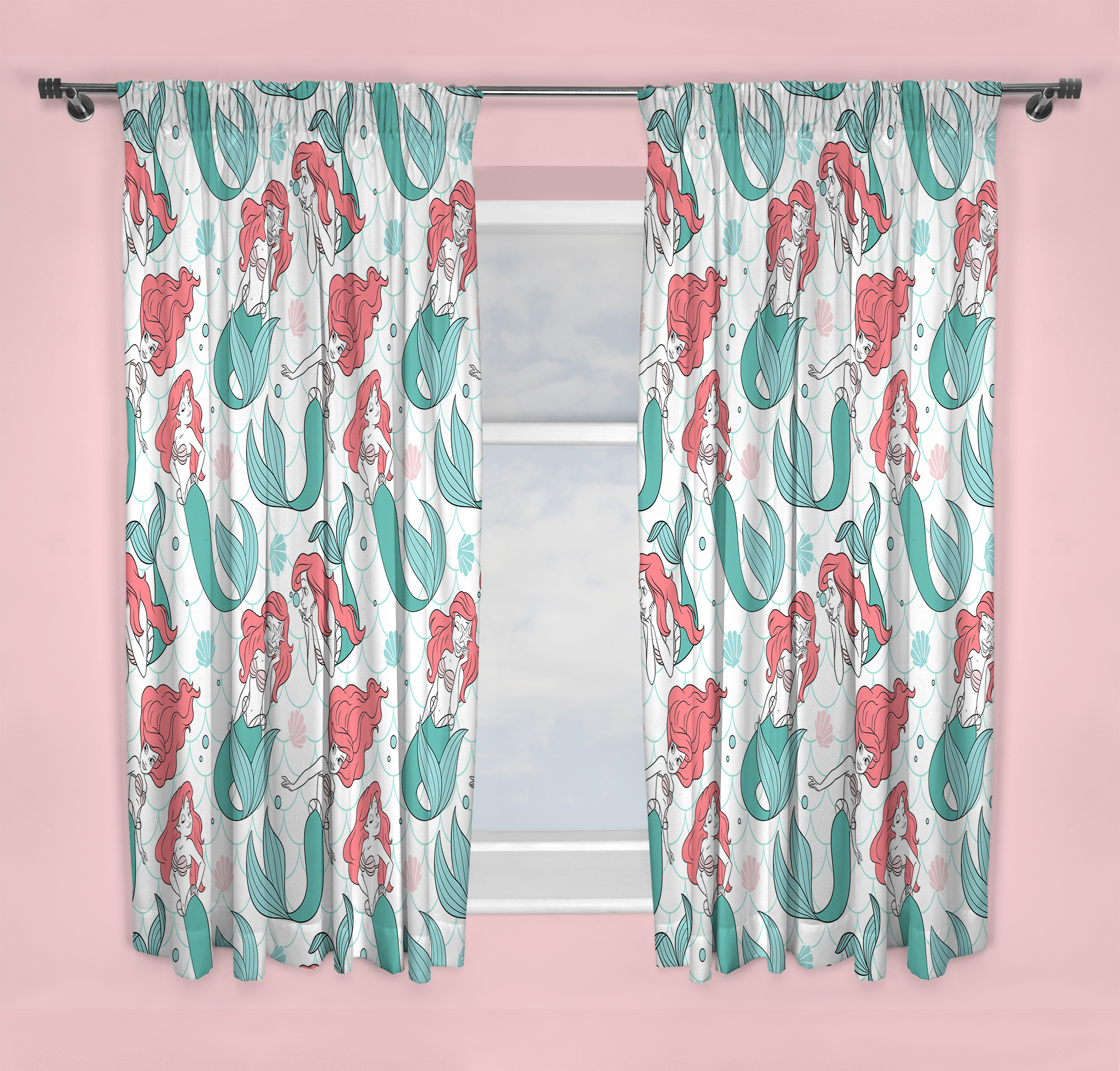 Disney Princess Oceanic Design Curtains  66X54 Inch