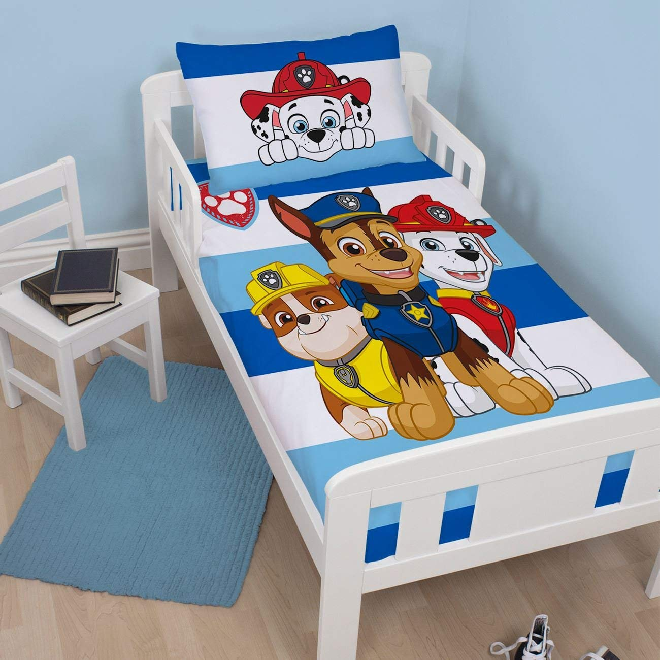 BOYS PAW PATROL PEEK JUNIOR / TODDLER COT BED SIZE PINK ...