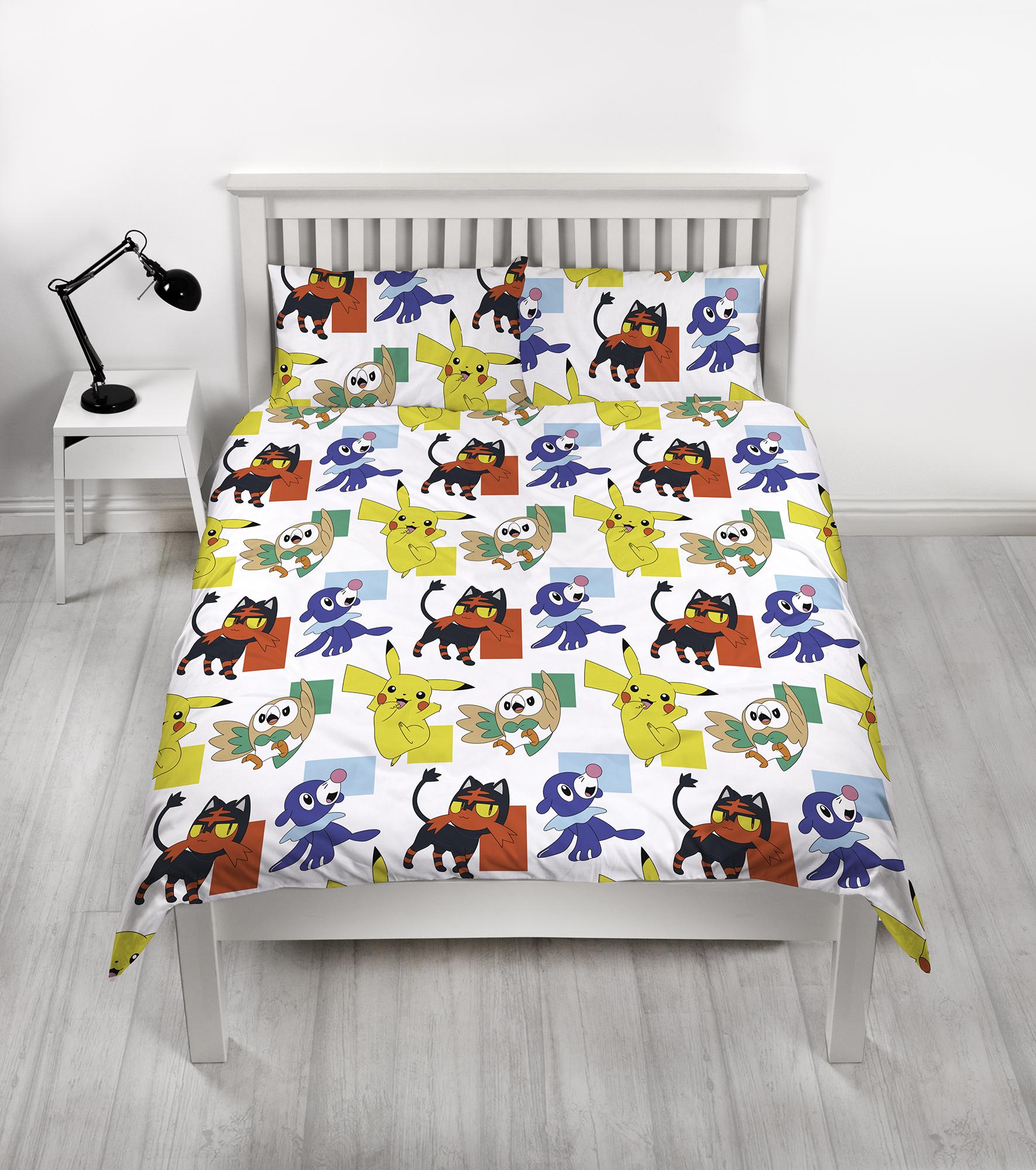 New Pokemon Double Duvet Quilt Cover Bedding Set Girls