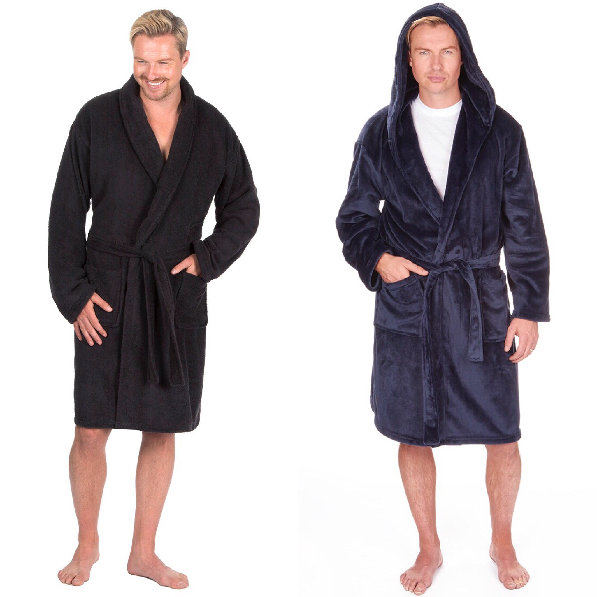 Mens Pierre Roche Cotton Rich Plain Waffle Robe Dressing Gown