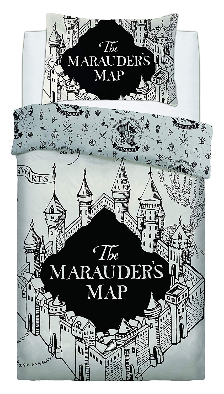 Harry Potter Marauders Map Einzelbett Bettwäsche Weiß Set Kinder