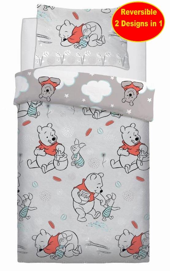 Copripiumino Winnie The Pooh.Disney Winnie The Pooh Single Duvet Set Childrens Kids Bed Grey Ebay