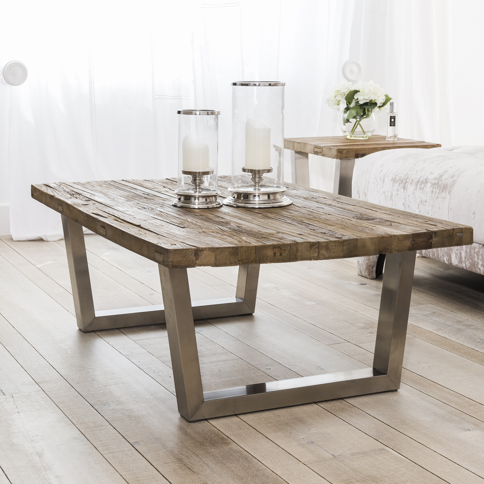 New Detroit Reclaimed Elm Wood Coffee Table With