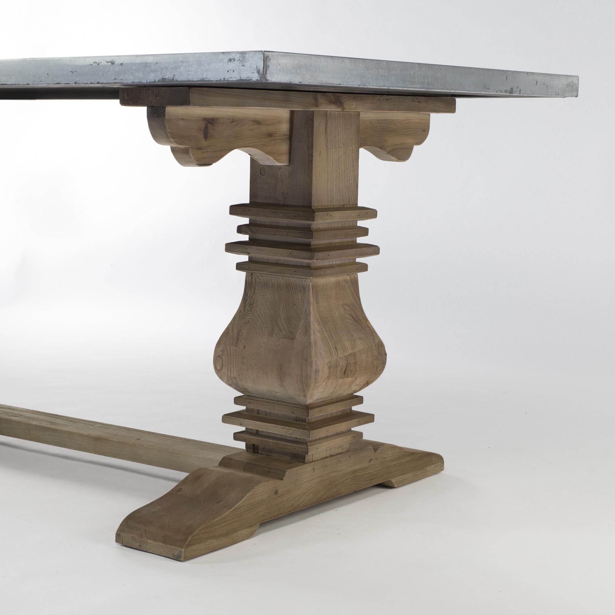 EGB624 2.2m Zinc Top Reclaimed Elm Wooden Base Dining