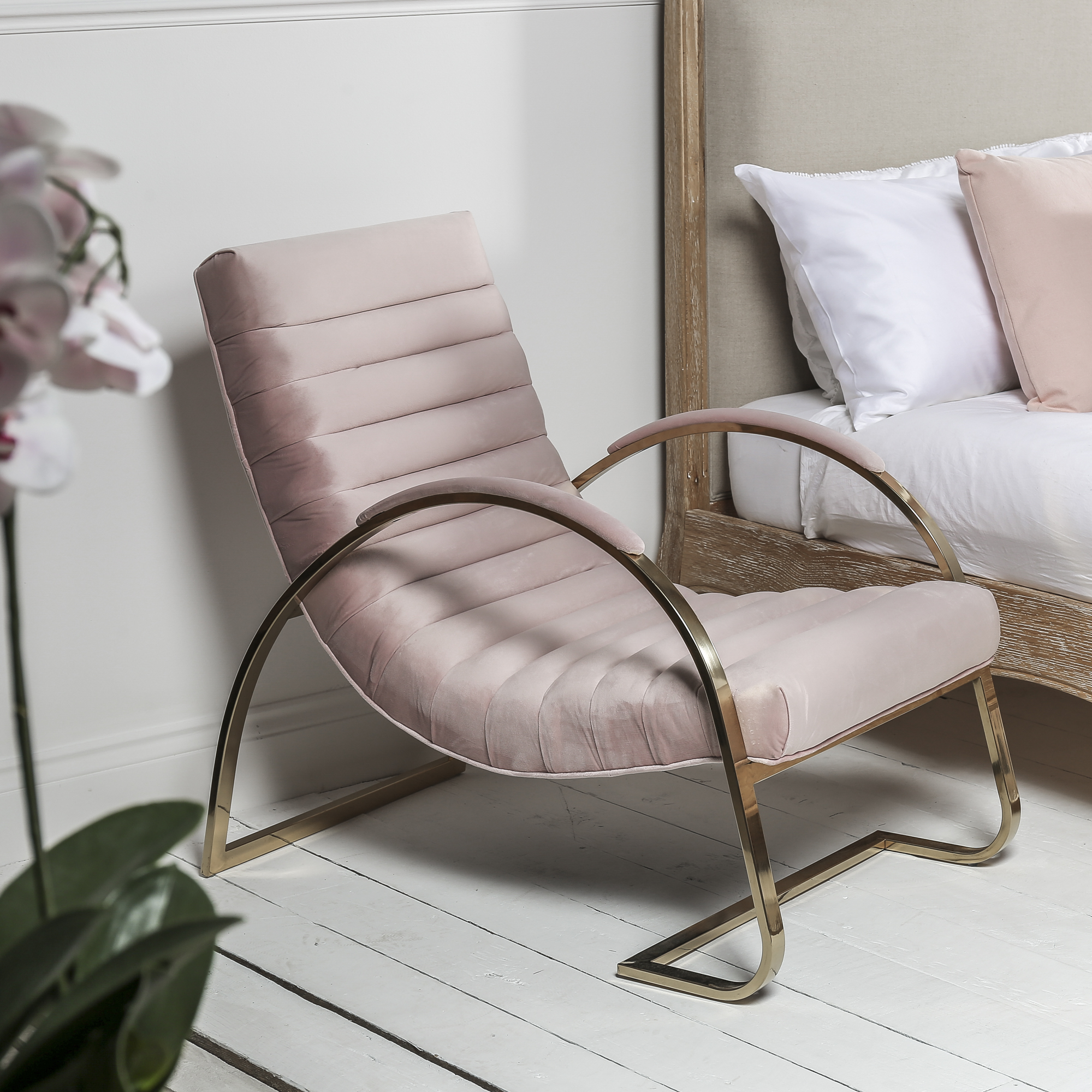 Details about eGF9-P Pink Brushed Velvet Lounger Slouch Armchair – Bedroom  Chair