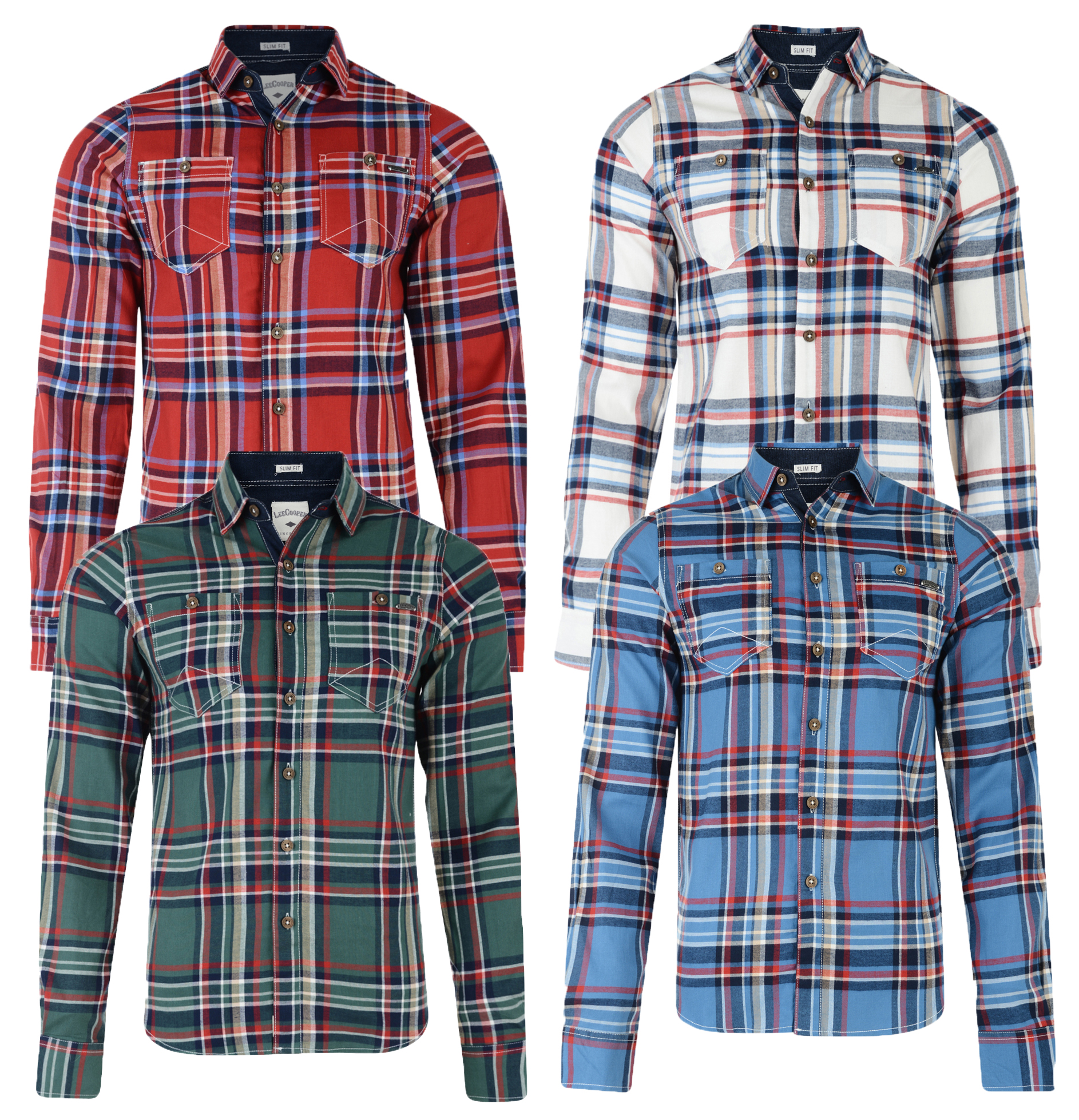 558f412c0 Lee Cooper Long Sleeve Men's Wandsworth Cotton Check Shirt Red Green ...