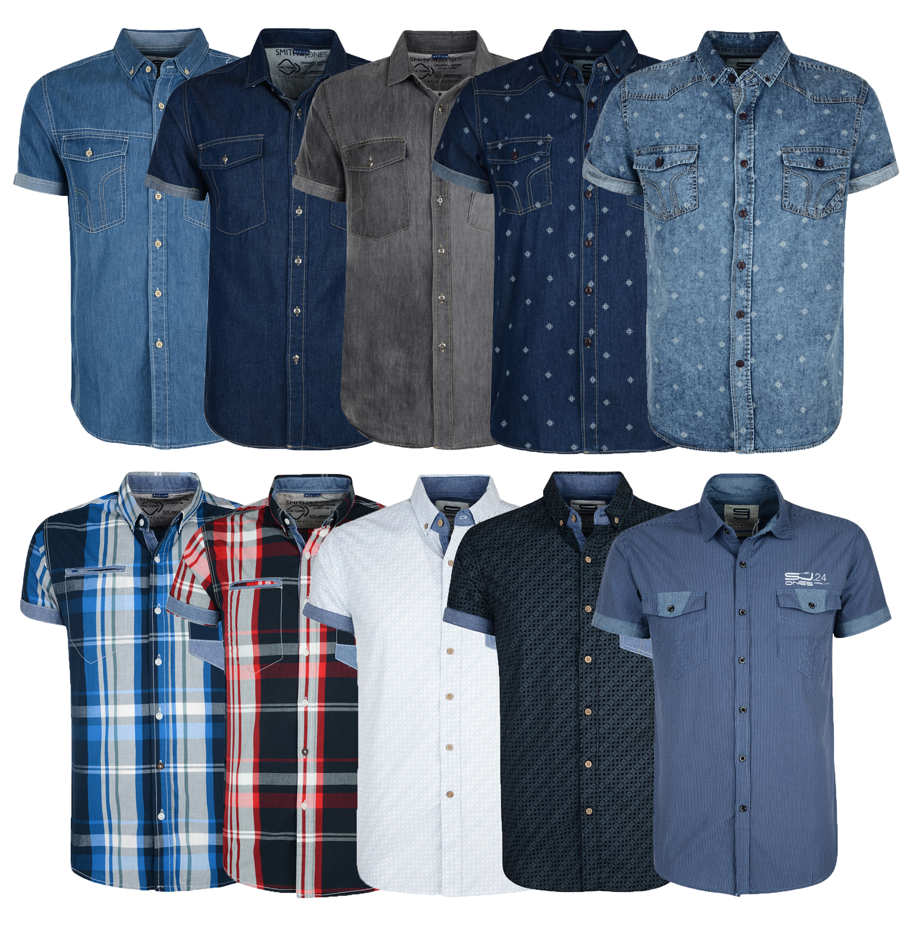 524f38d3cb2 Smith   Jones Men s New Short Sleeve Shirts Denim Check Stripe ...