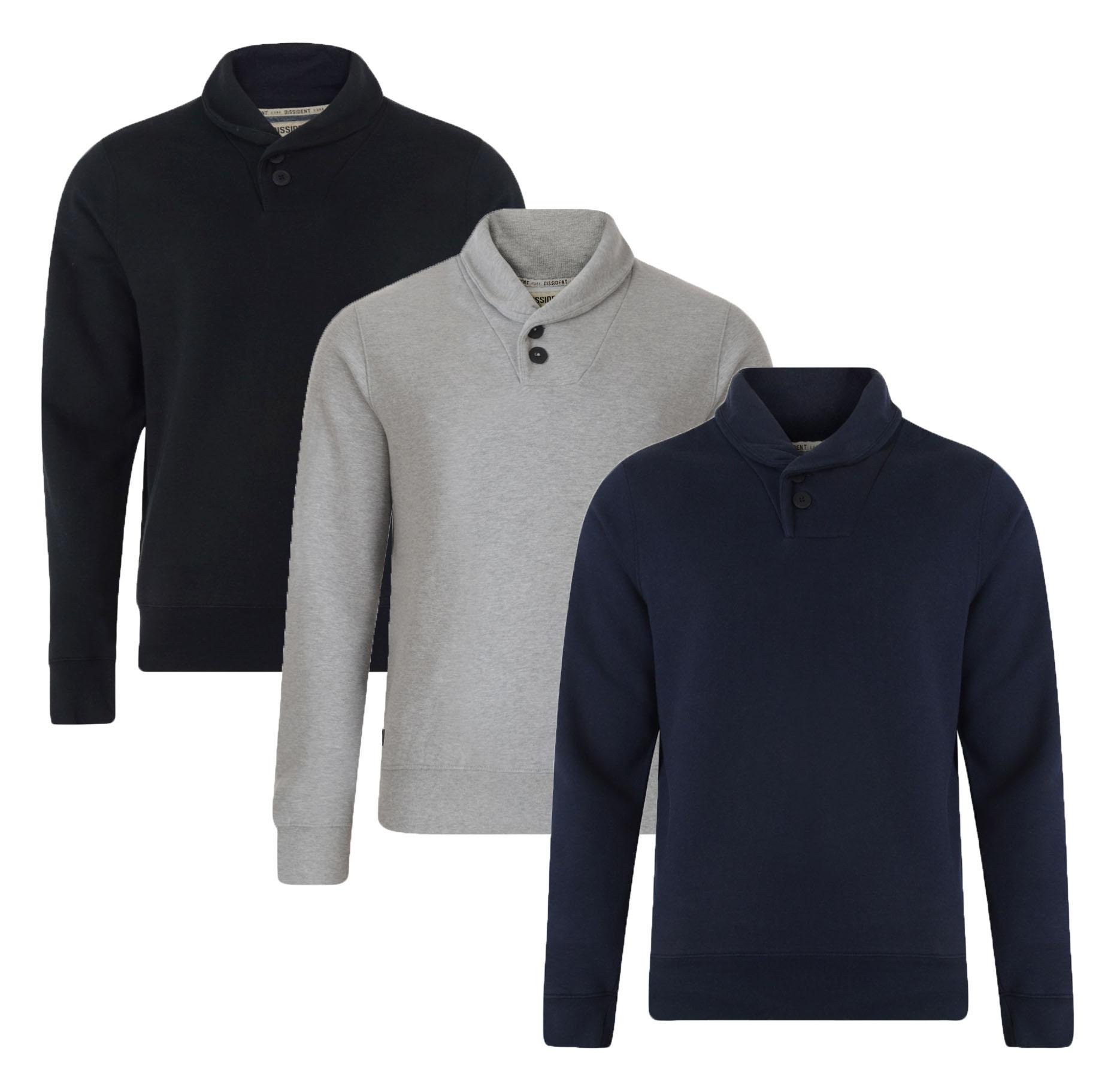 Dissident New Men's Shawl Neck Sweatshirt Black Grey Blue Casual Jumper Top