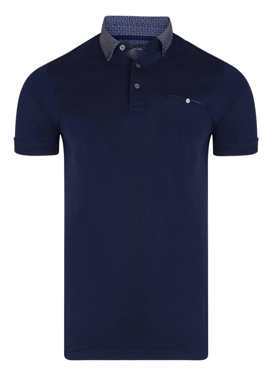 French Connection Long Sleeve Shirt Slim Fit Dark Blue Dott Pyramid Cotton Shirt