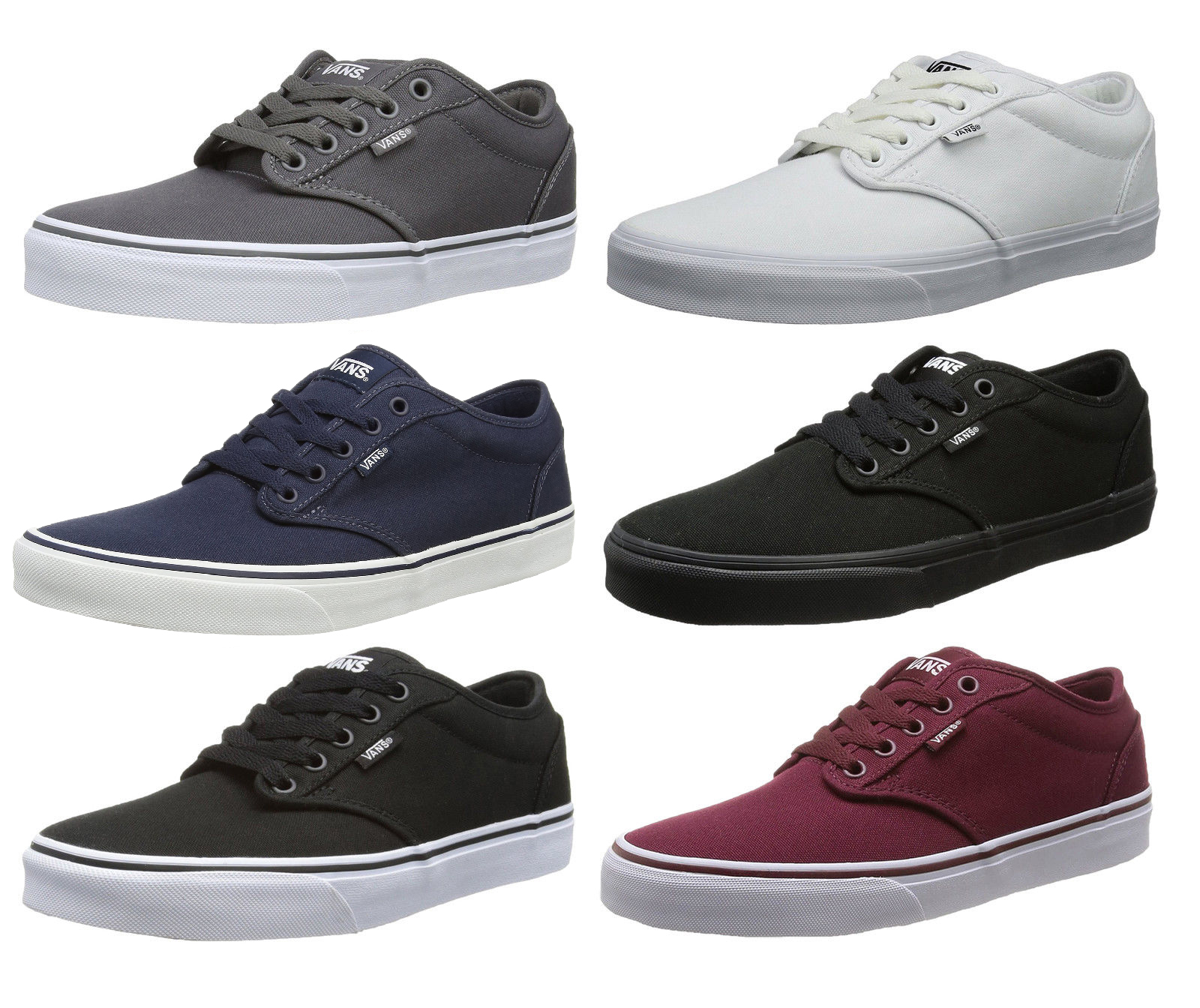 8433bf5c59 VANS Atwood Canvas Fashion Skater Shoes Plimsolls Grey Navy Black ...