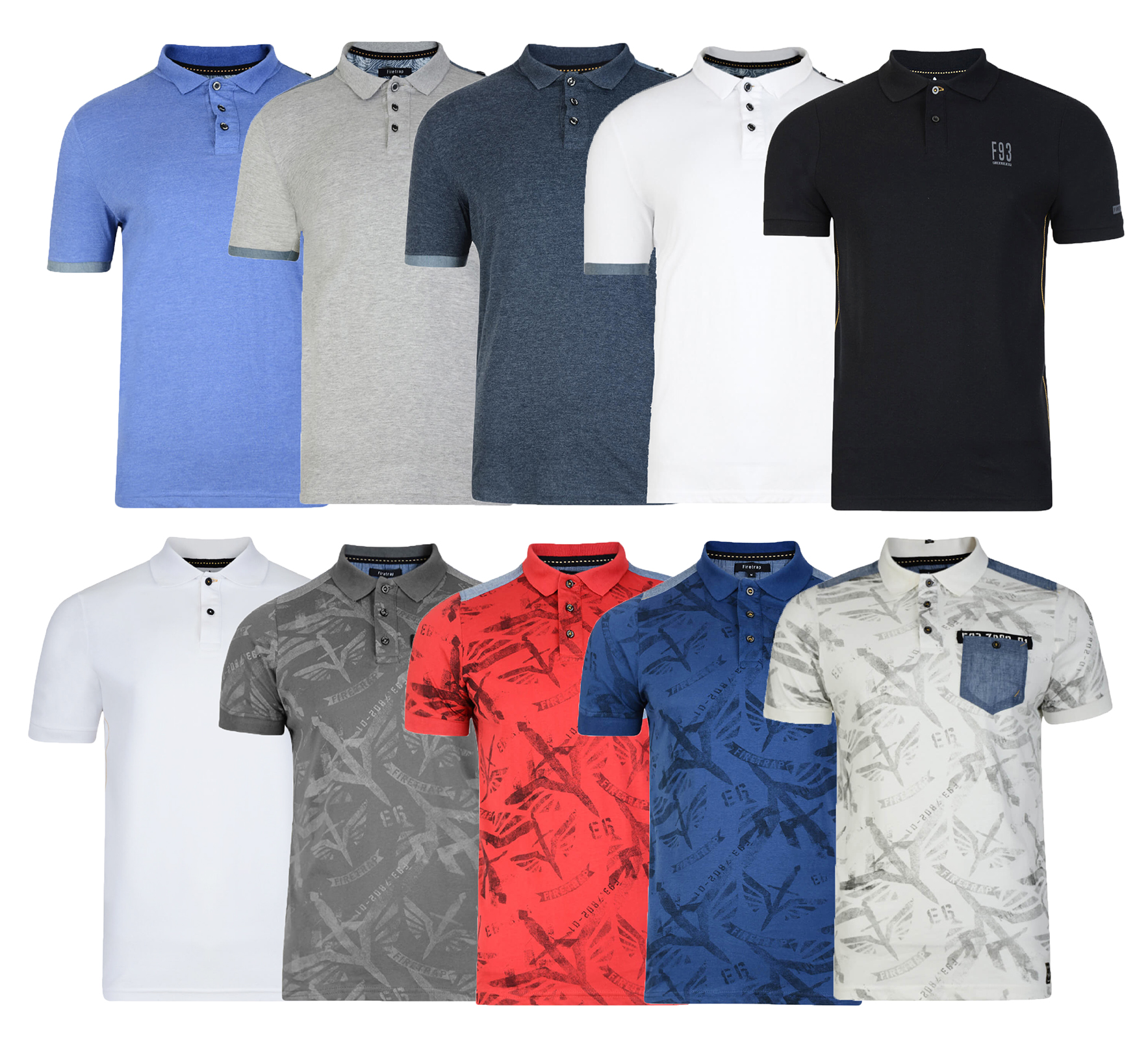 Firetrap Polo Shirt Soft Sizes Plain Navy XL Mens Medium