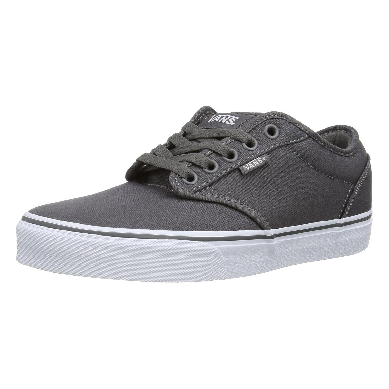 12ec98dc3c Detalles acerca de Vans Atwood Mens Lona Zapatillas Skater Liso Zapatos Con  Cordones Plimsolls Gris Blanco- mostrar título original