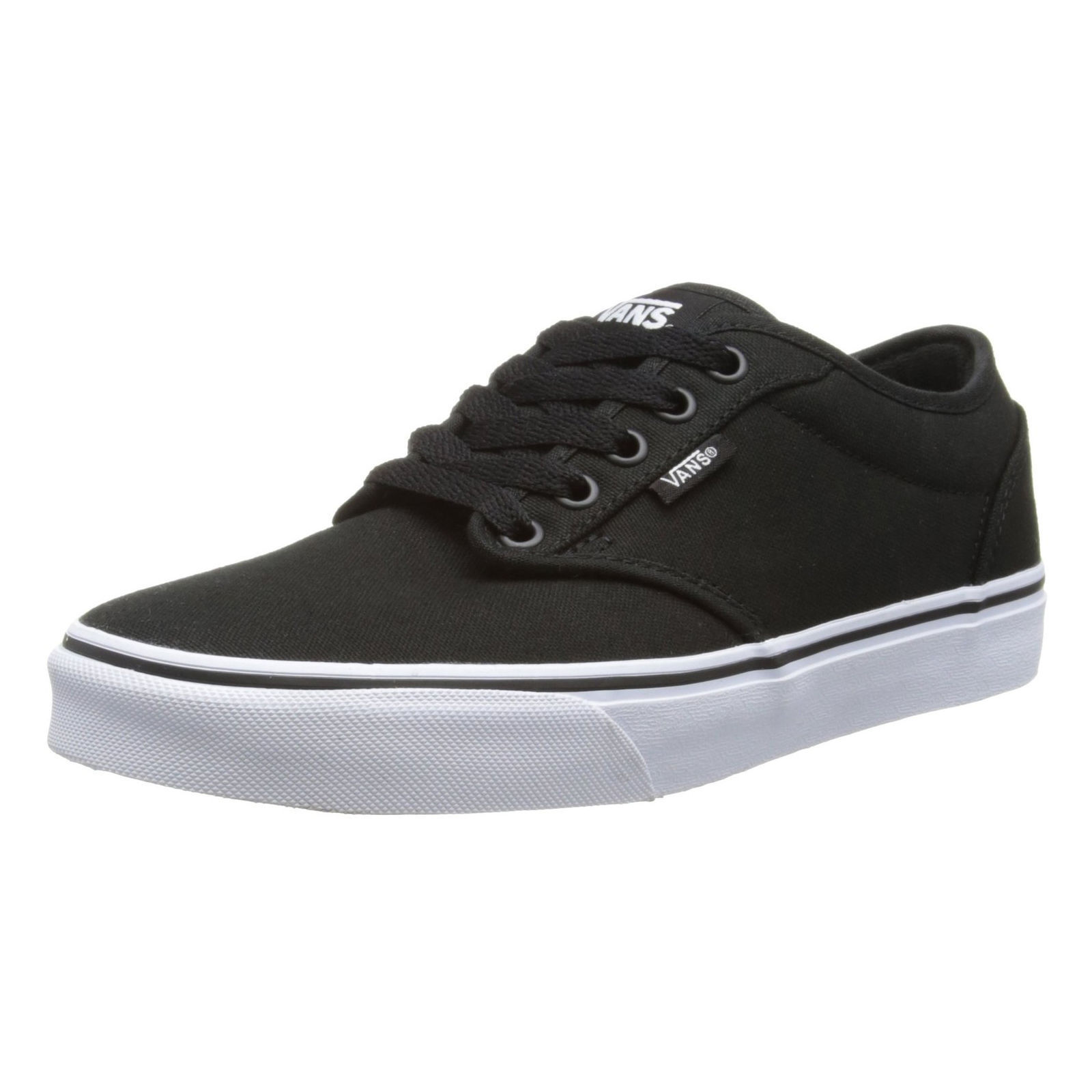 9adcd6af80 Details about VANS Atwood Mens Canvas Skater Trainers Plain Shoes Lace Up  Plimsoll Black White