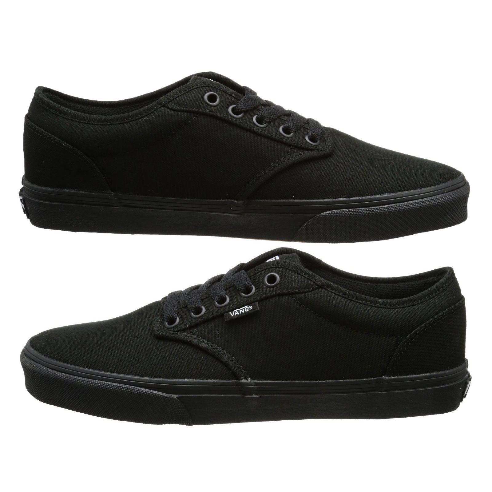 Details zu VANS Atwood Mens Canvas Skater Trainers Plain Shoes Lace Up Plimsolls Black