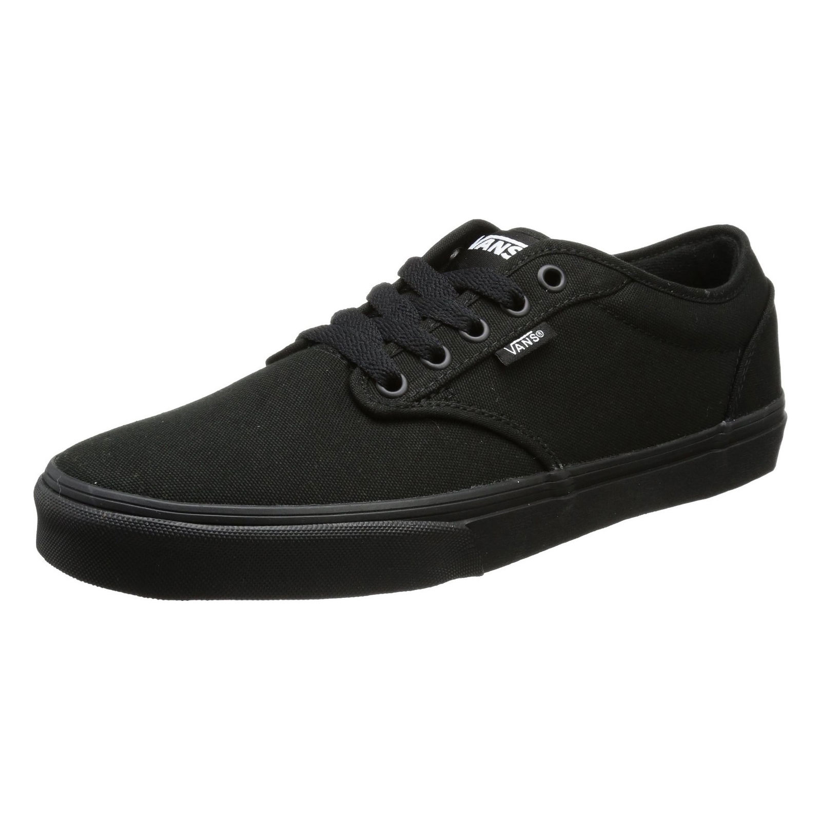 39a7c86c00 Details about VANS Atwood Mens Canvas Skater Trainers Plain Shoes Lace Up  Plimsolls Black