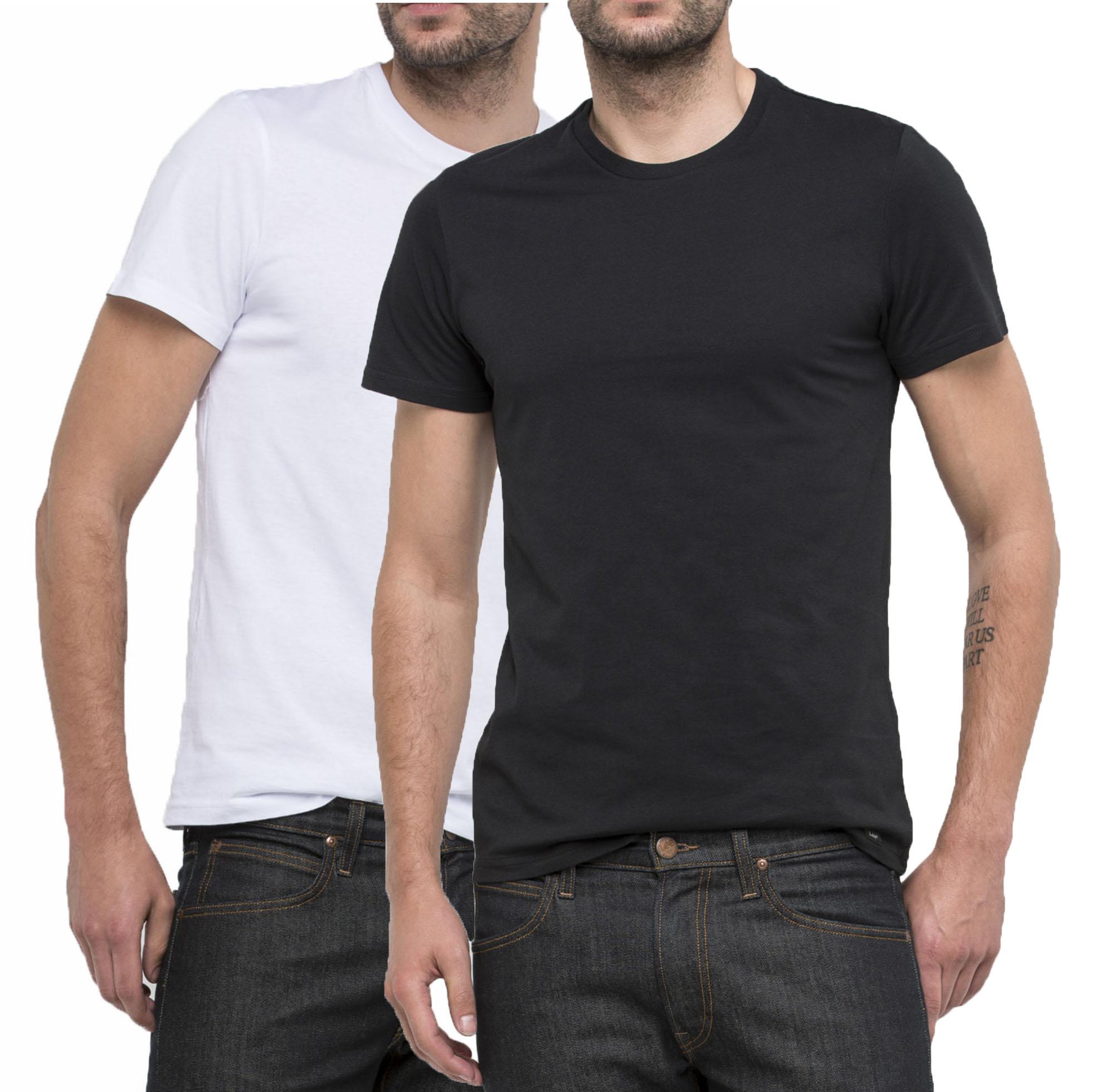 MENS LEE 2 PACK SLIM FIT PLAIN 100/% COTTON T-SHIRT BLACK