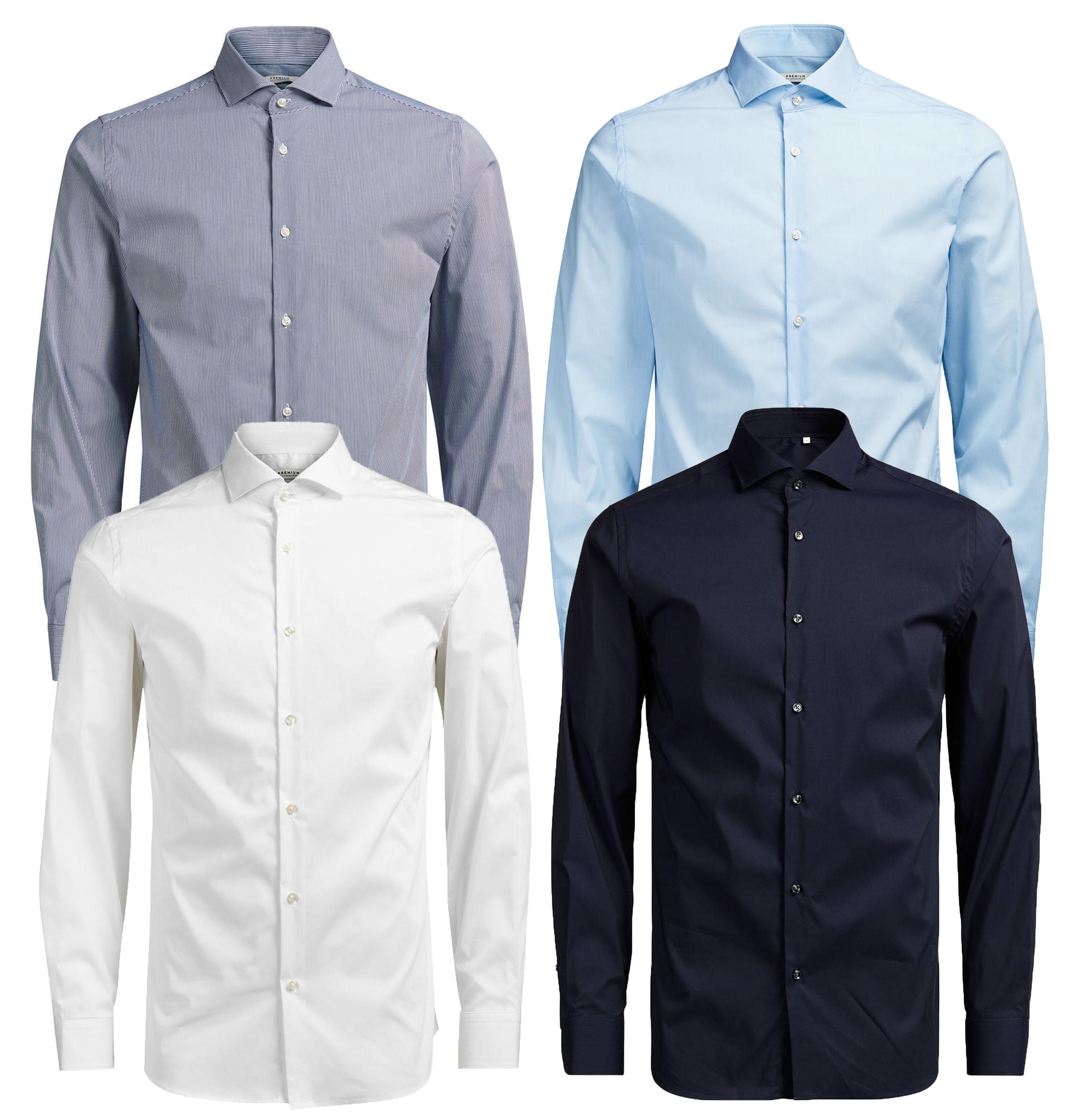 739511a42a97d31 JACK & JONES Premium Long Sleeve Shirt Mens Slim Fit Plain Smart ...