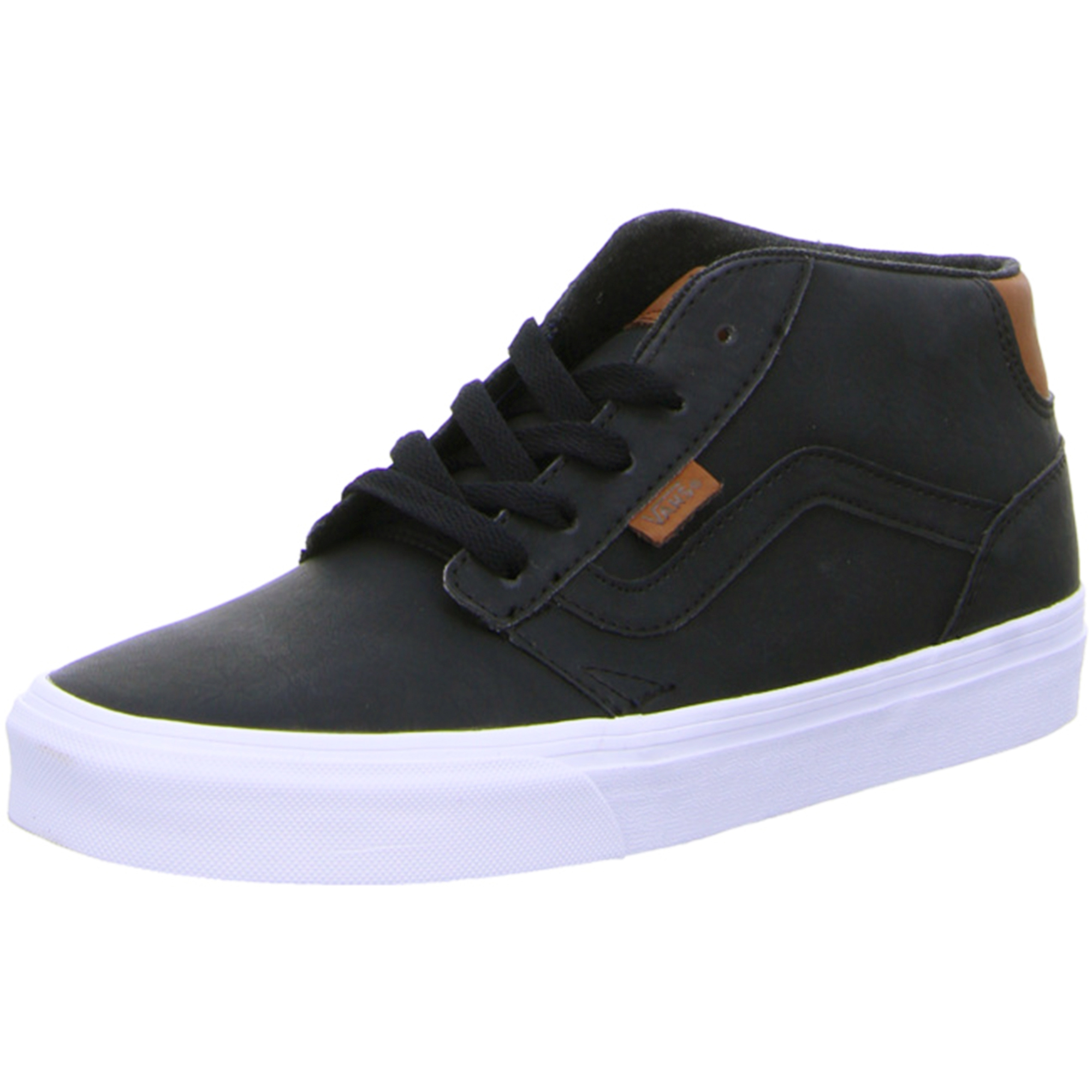 vans chapman mid stripe leather fashion skater shoes casual trainers black ebay. Black Bedroom Furniture Sets. Home Design Ideas