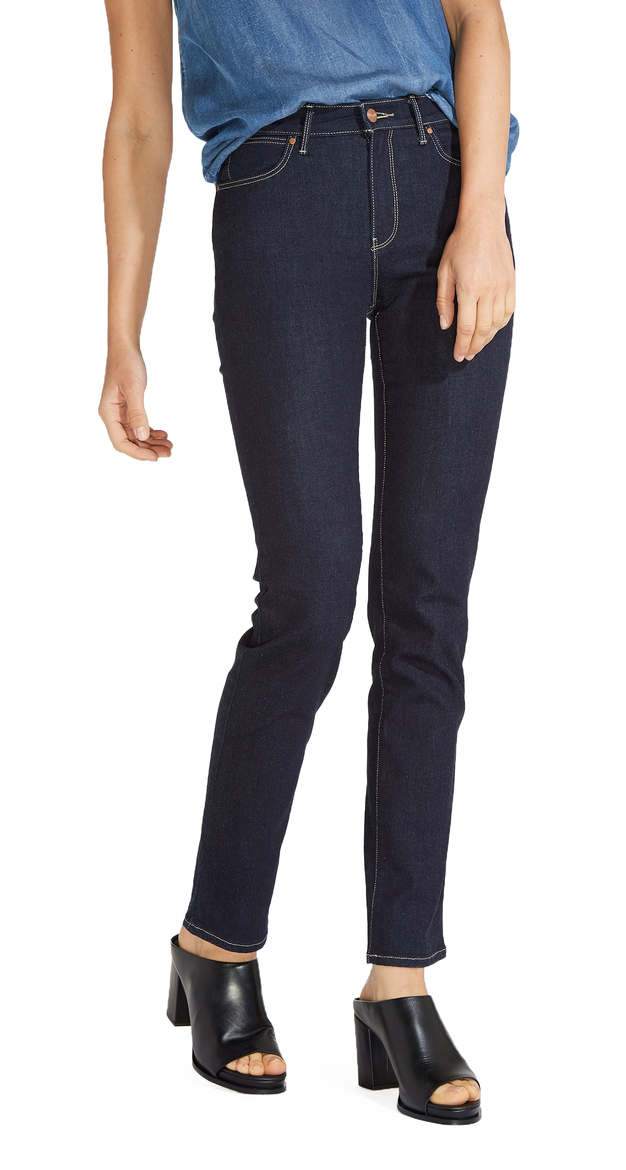 Wrangler High Rise Slim Ulta Flex Stretch Jeans Womens Ladies Rinsewash Denim