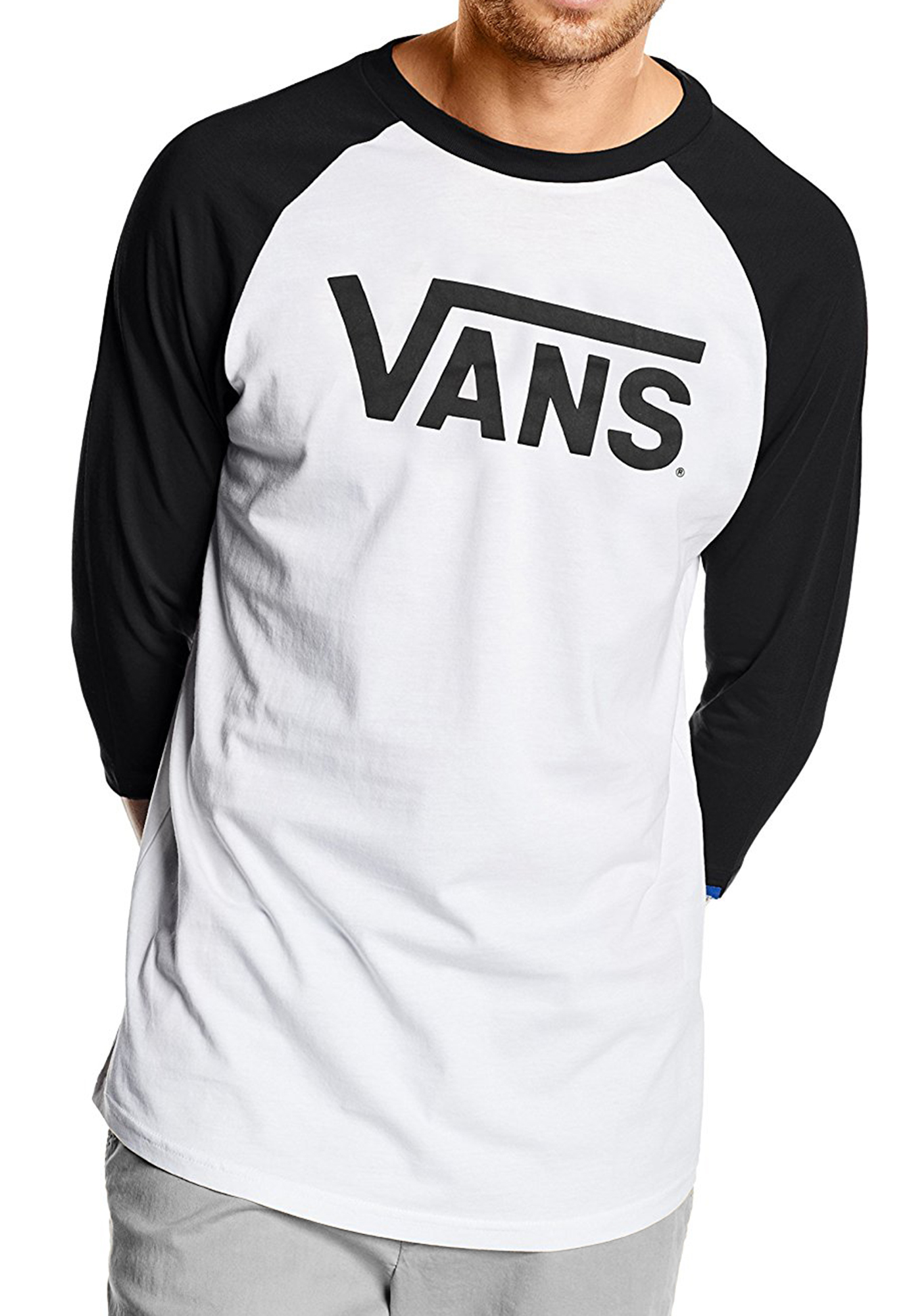 Details zu VANS New Mens Classic Logo Long Sleeve Raglan T Shirt Print Top Tee Black White