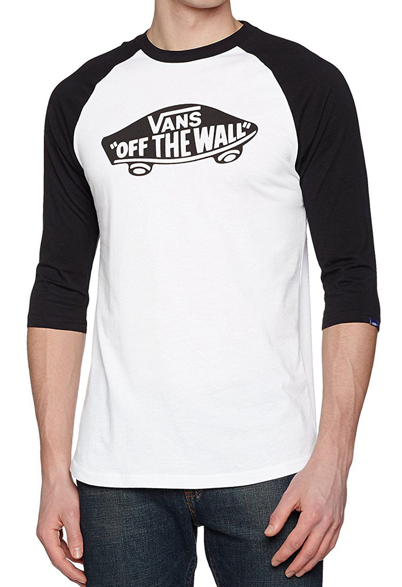 Details zu VANS Off The Wall Logo Mens Long Sleeve Raglan T Shirt Print Top Tee Black White