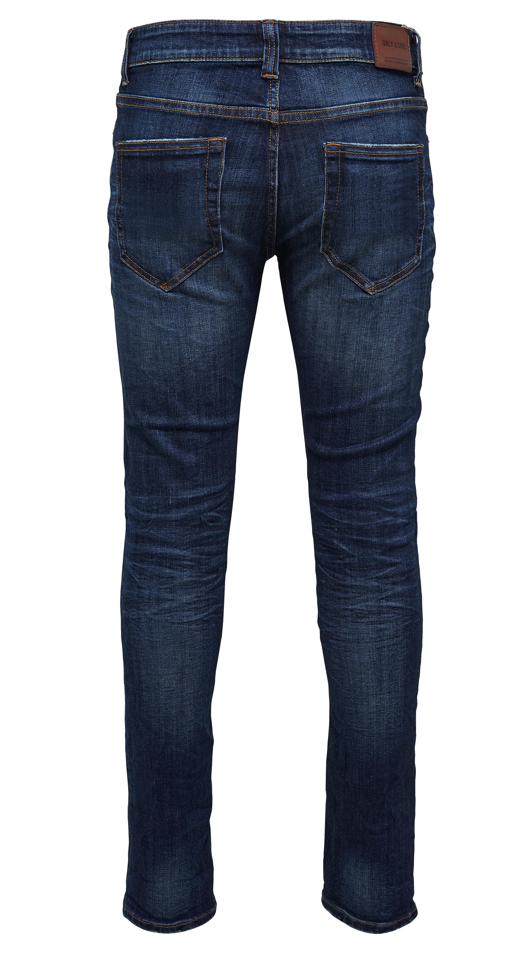 ONLY /& SONS Jeans New Mens Loom Slim Fit Narrow Leg Denim Pants Dark Blue Faded
