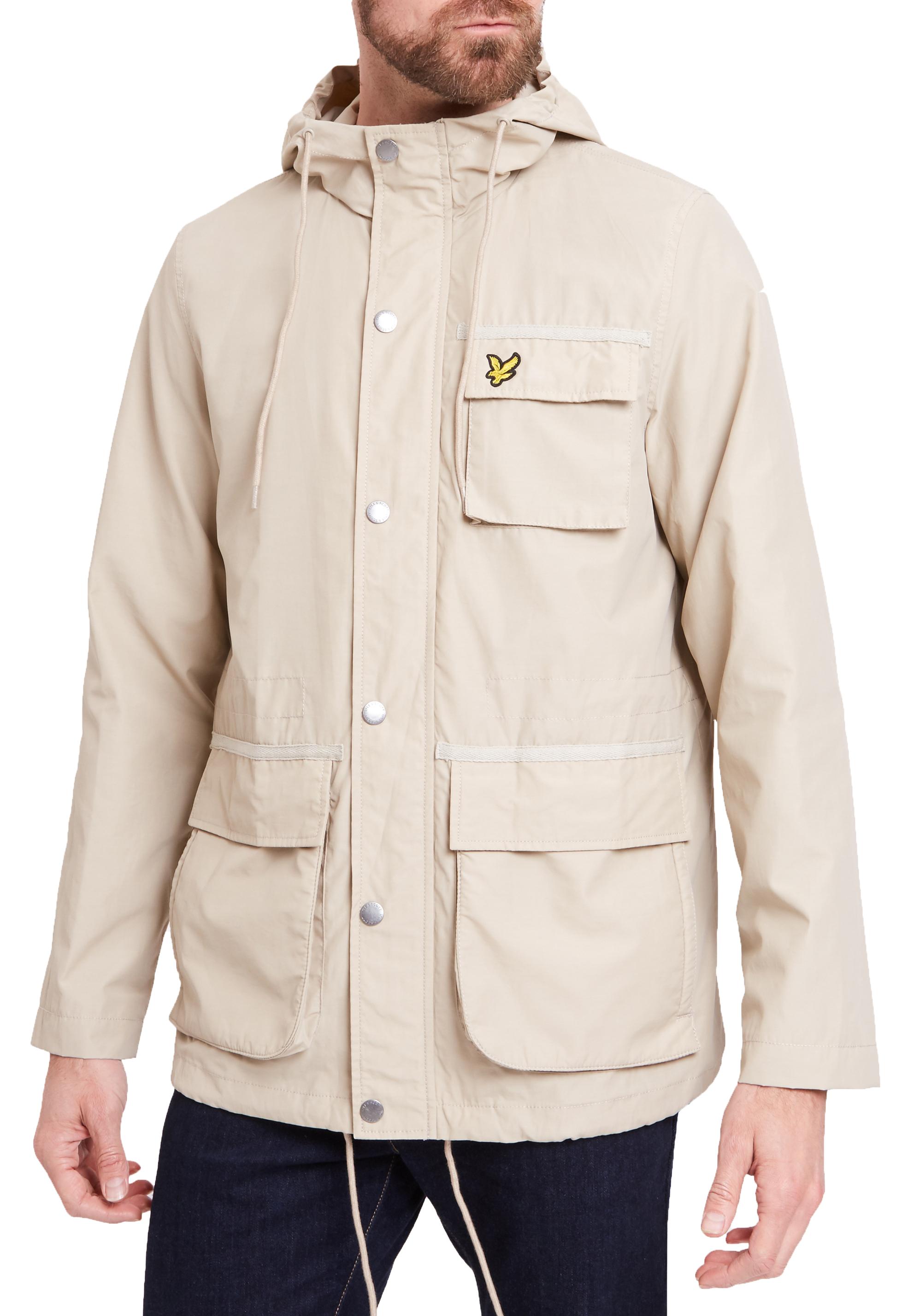 Lyle /& Scott Mens Pocket Jacket Lightweight Casual Hooded Coat Light Stone