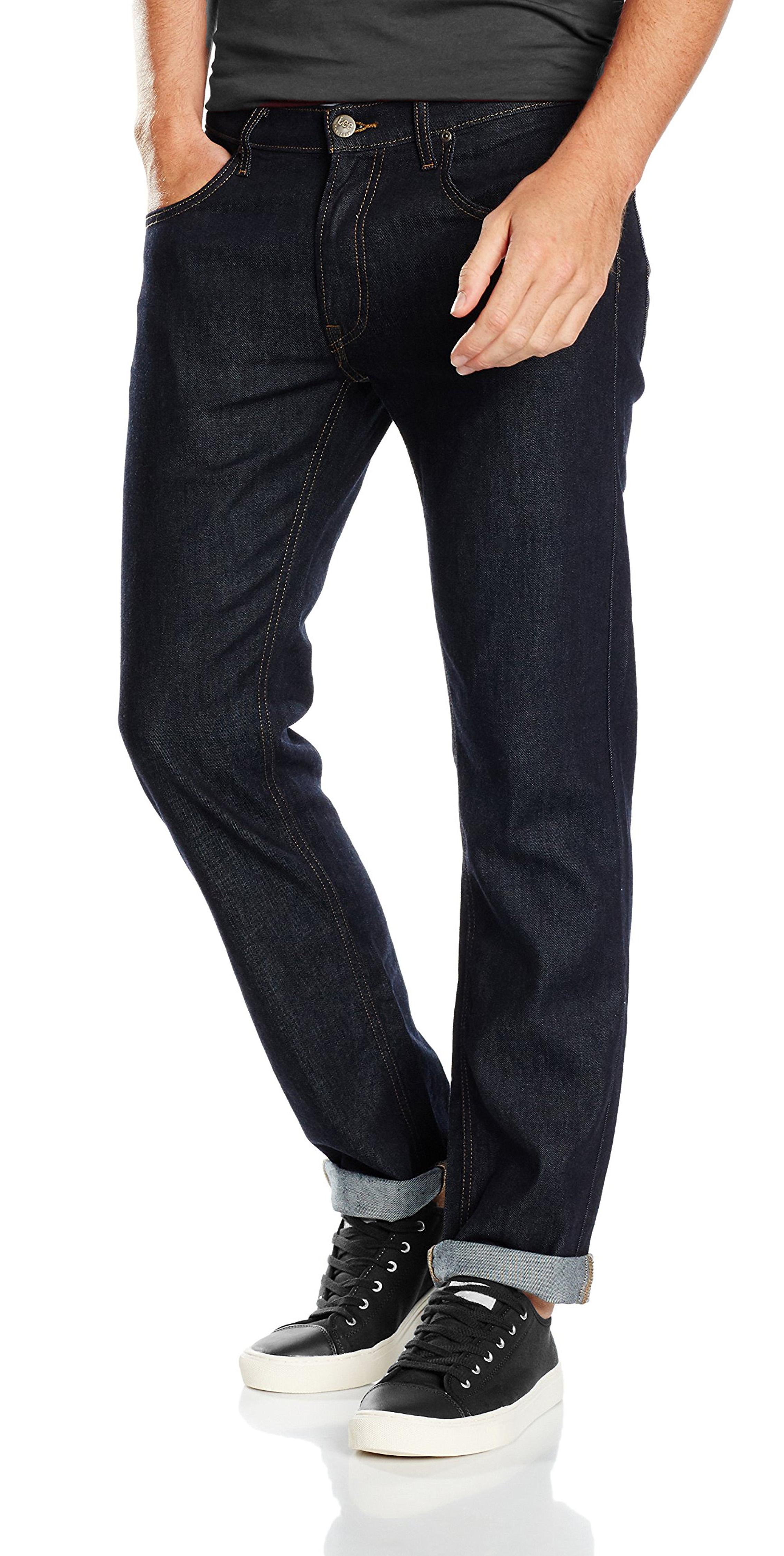 Lee Daren Zip Fly Regular Fit Slim Leg Jeans Men Tapered Denim Pants Black Rinse