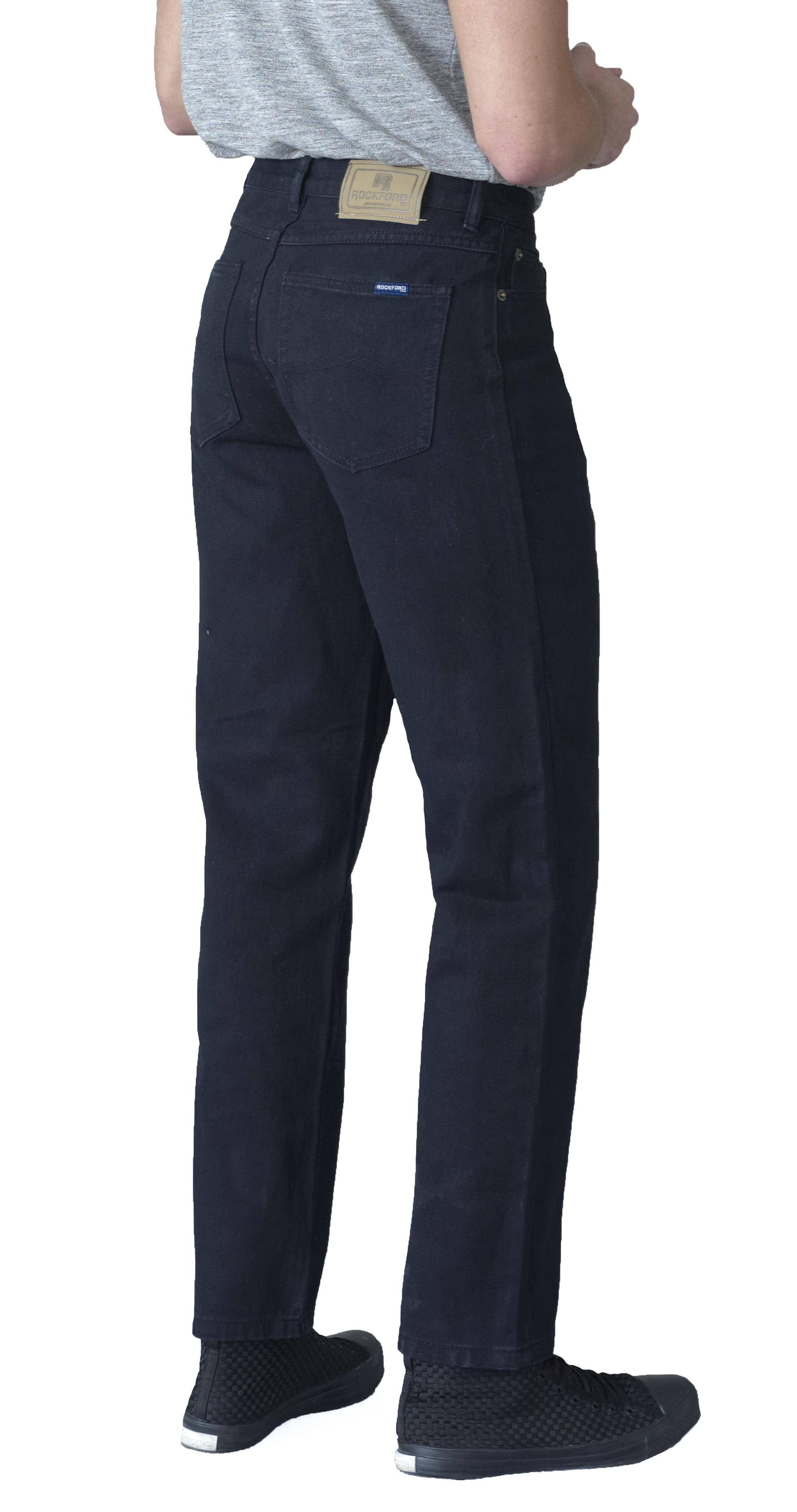 Rockford New Men's Extra Long Leg Tall Denim Comfort Fit Jeans Black 34L 38L