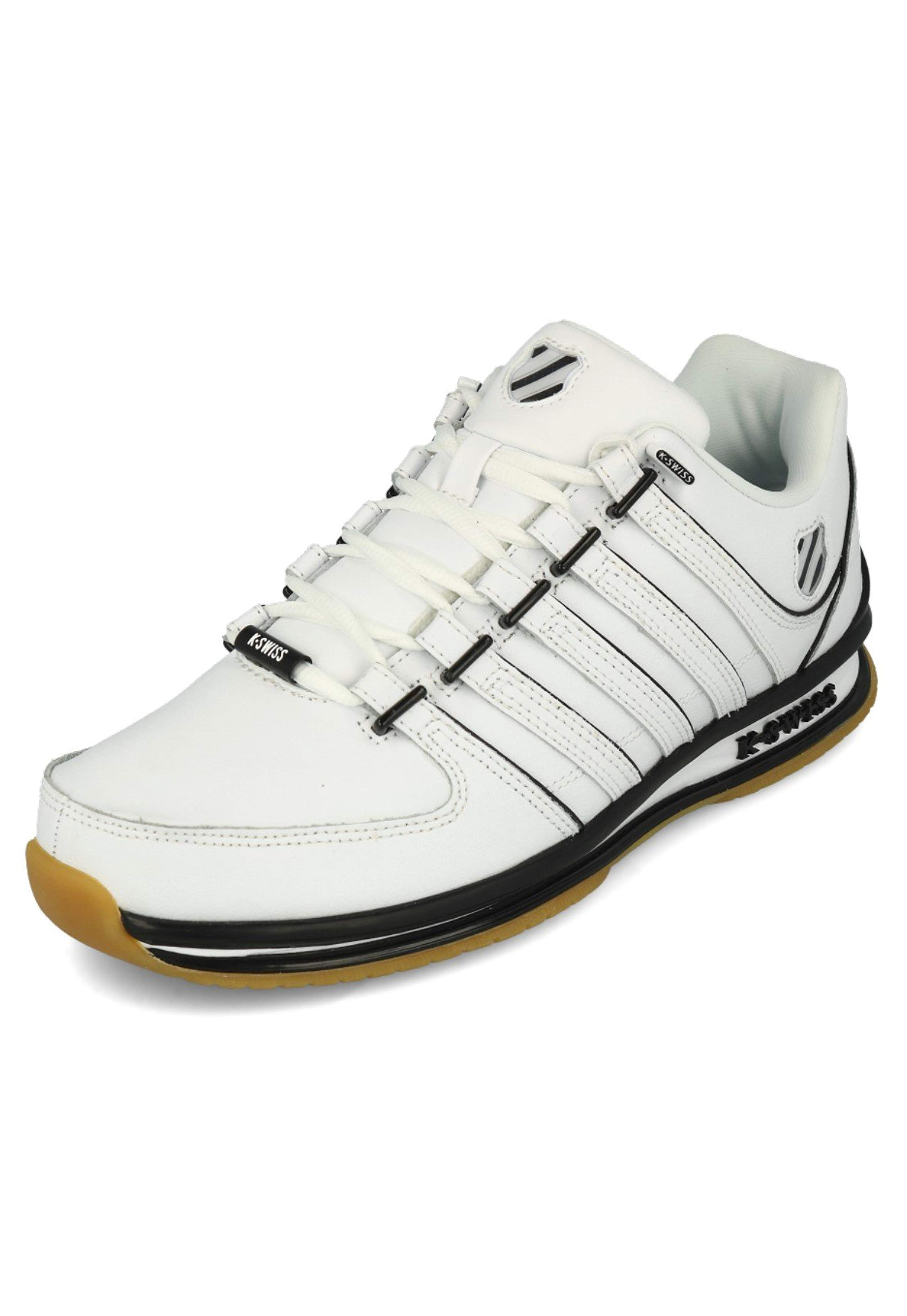 Mens K Swiss Trainers Rinzler SP Iconic Stripes Black White Red Leather Shoes